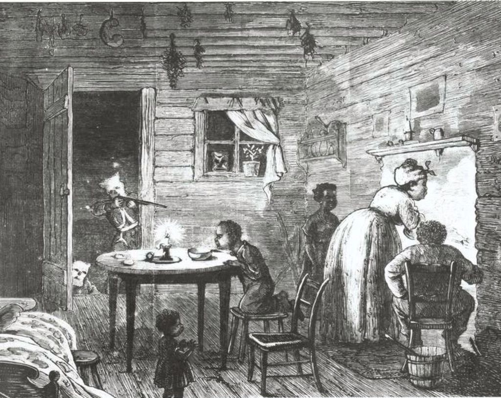 Historical illustration of a klansman going into the home of a black family, shotgun out