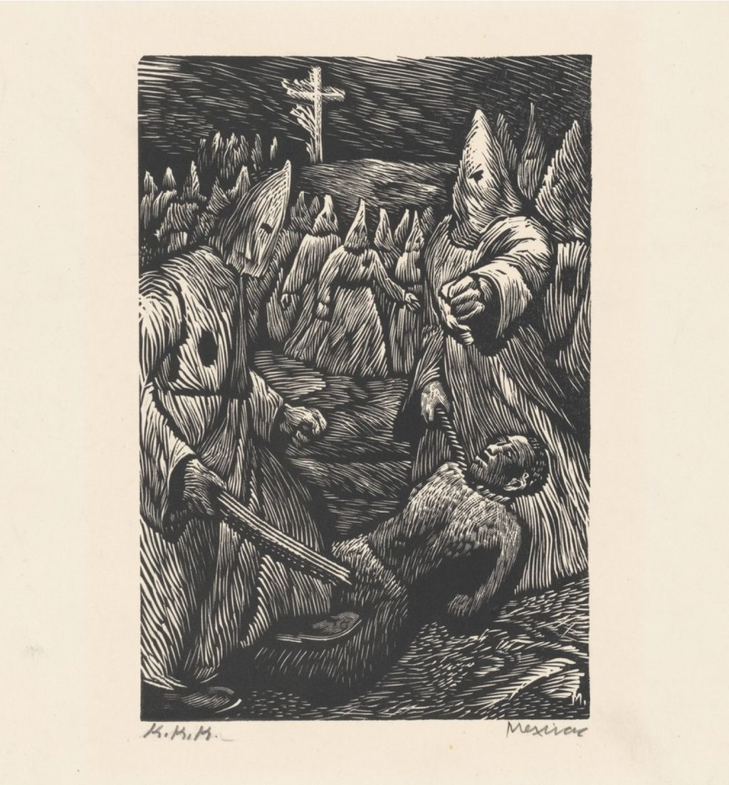 Historical etching of a group of Klansmen attacking one black man