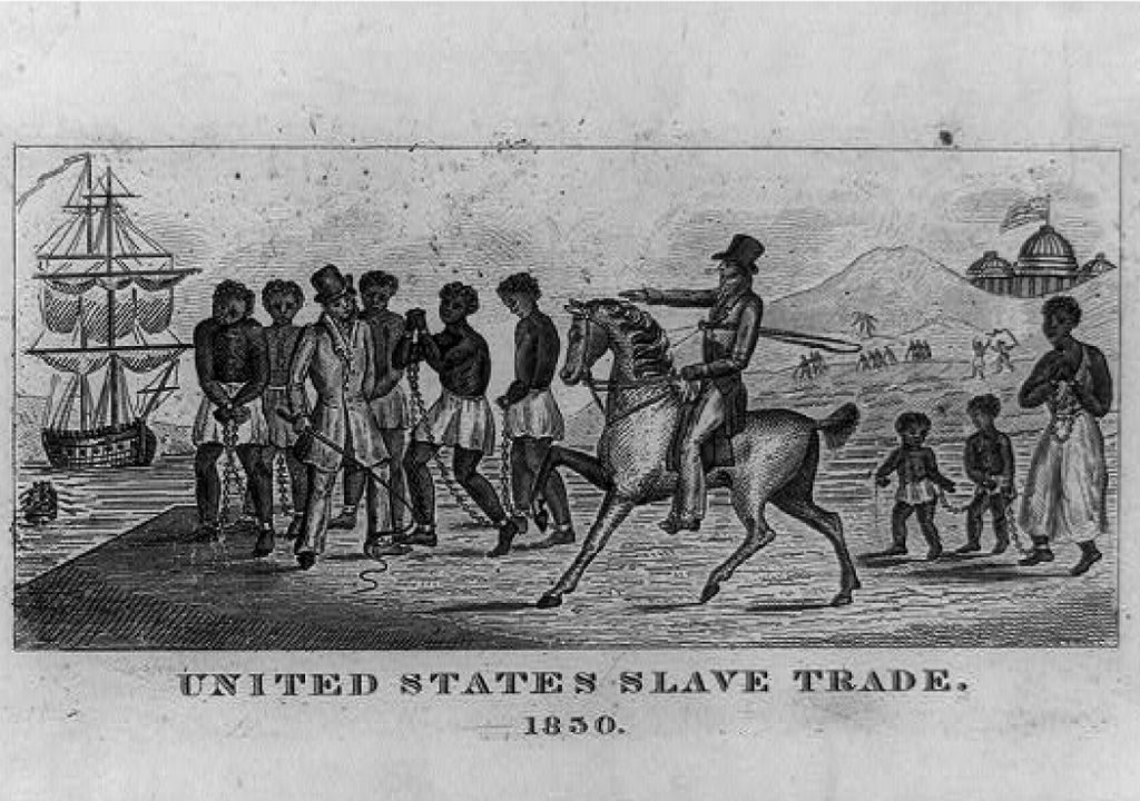 Historical etching of the slave trade in 1850