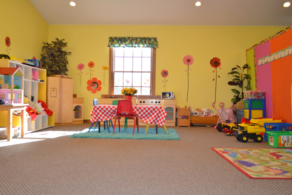 Indoor play area with different kinds of toys and props
