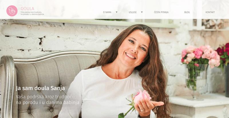 Doula Sanja main page screenshot