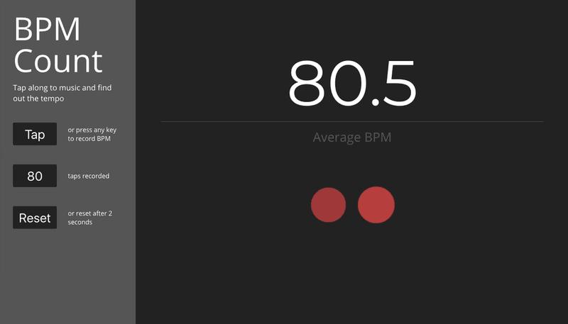 BPM Count main page screenshot