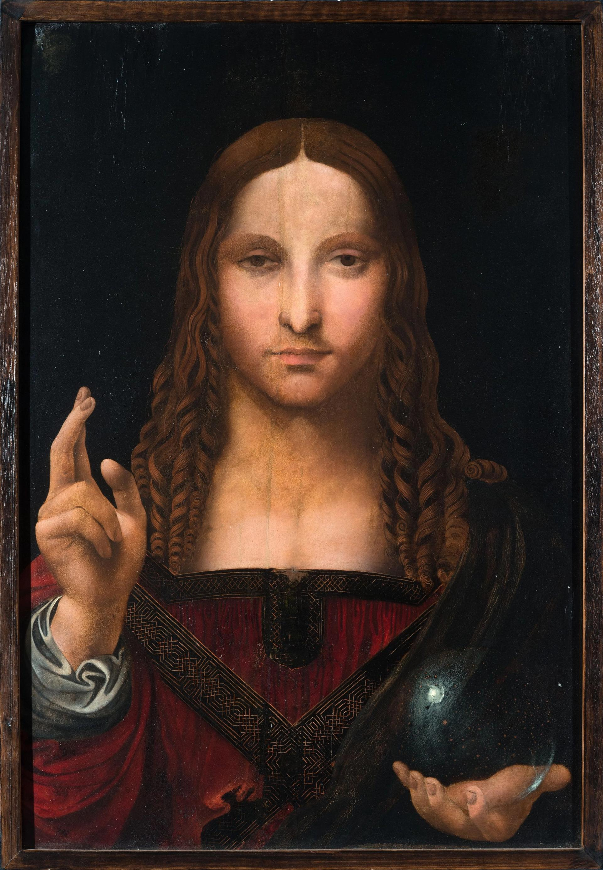 The Naples Salvator Mundi,  attributed to a follower of Leonardo, was stolen from the Museum of San Domenico Maggiore © SAN DOMENICO MAGGIORE, NAPLES
