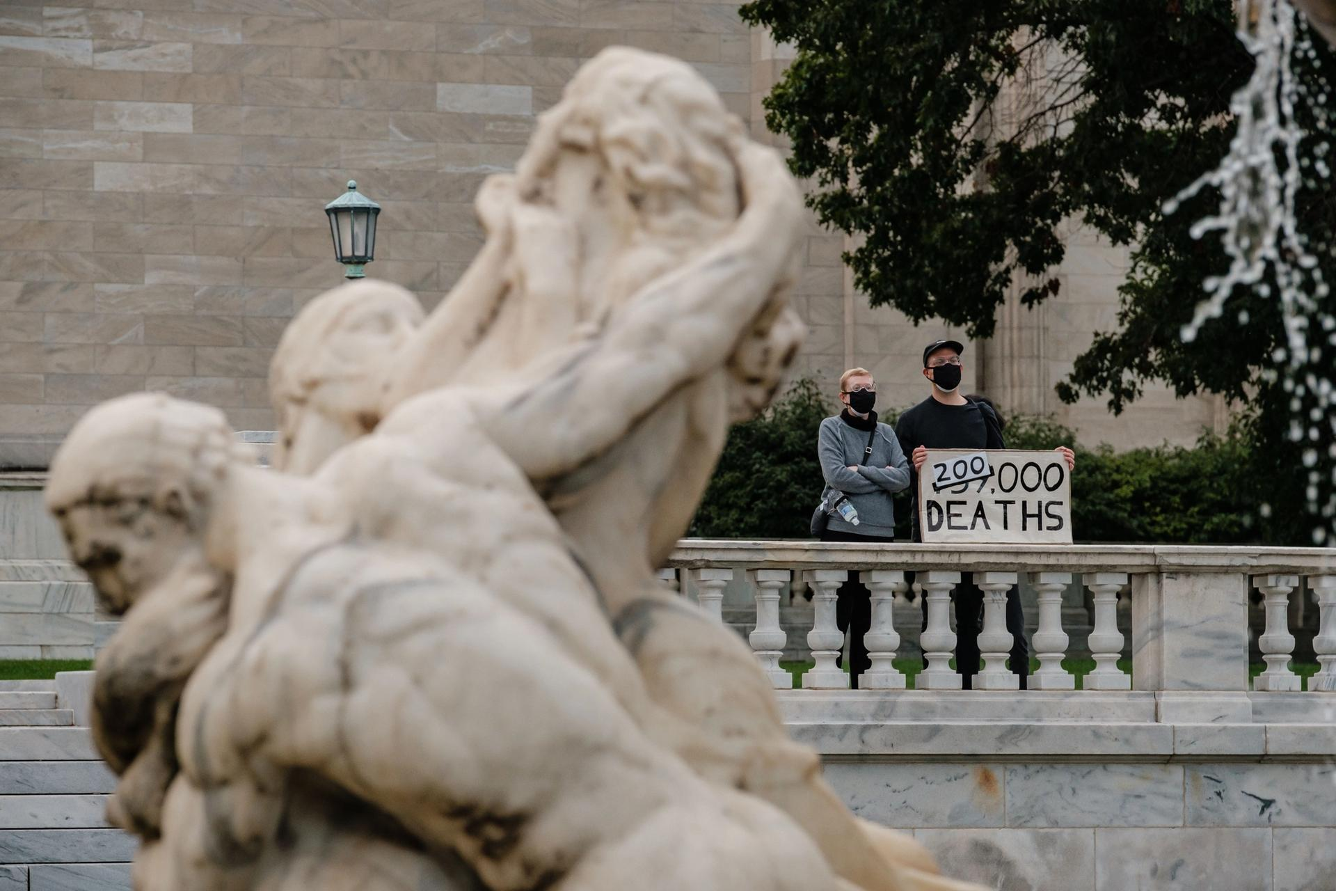 Protesters on the steps of the Cleveland Museum of Art earlier this week. Andrew Dolph/ZUMA Wire/Shutterstock