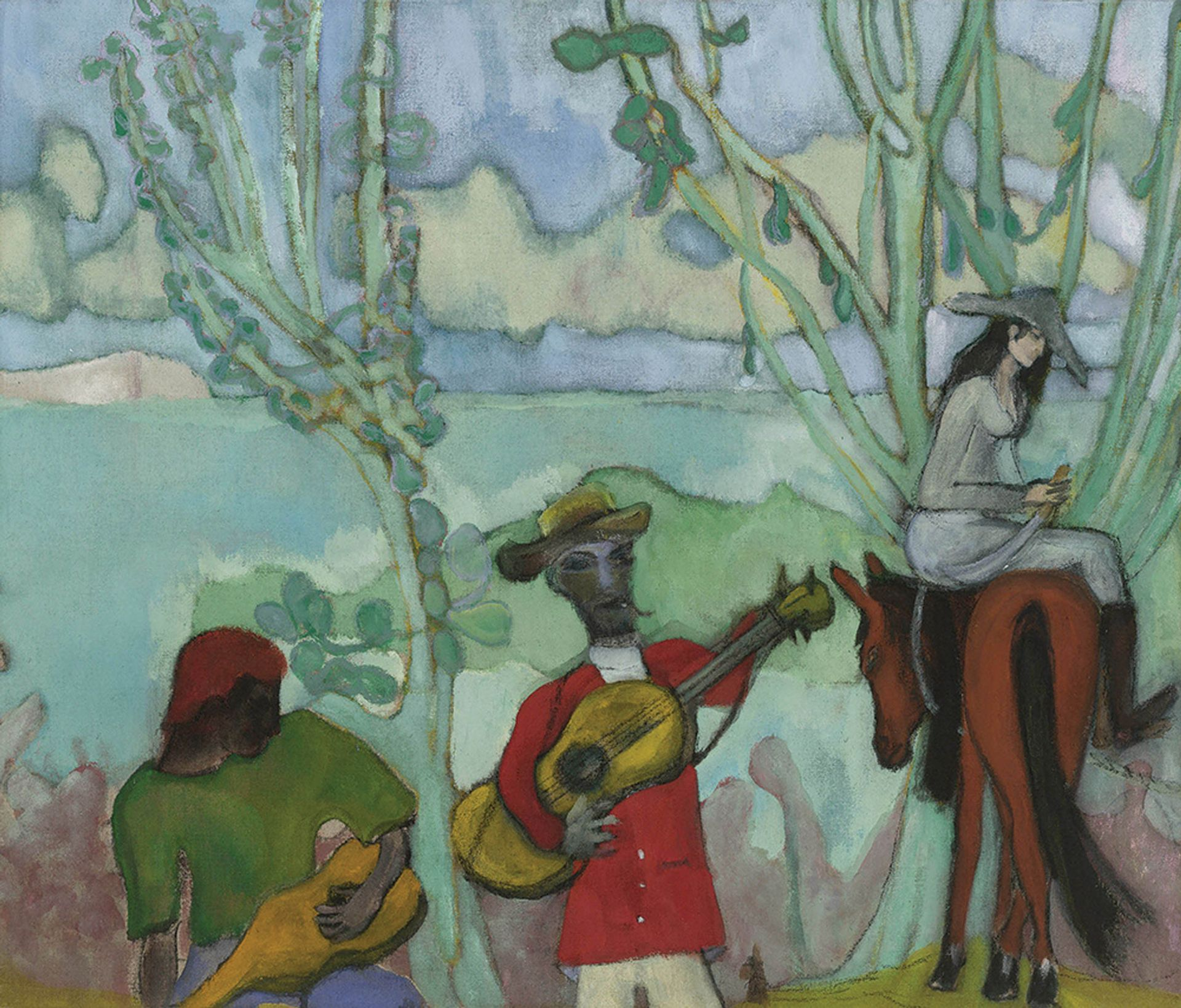 Peter Doig's Music (2 Trees, 2019) © Peter Doig. All Rights Reserved, DACS 2019. Courtesy Michael Werner Gallery, New York and London.