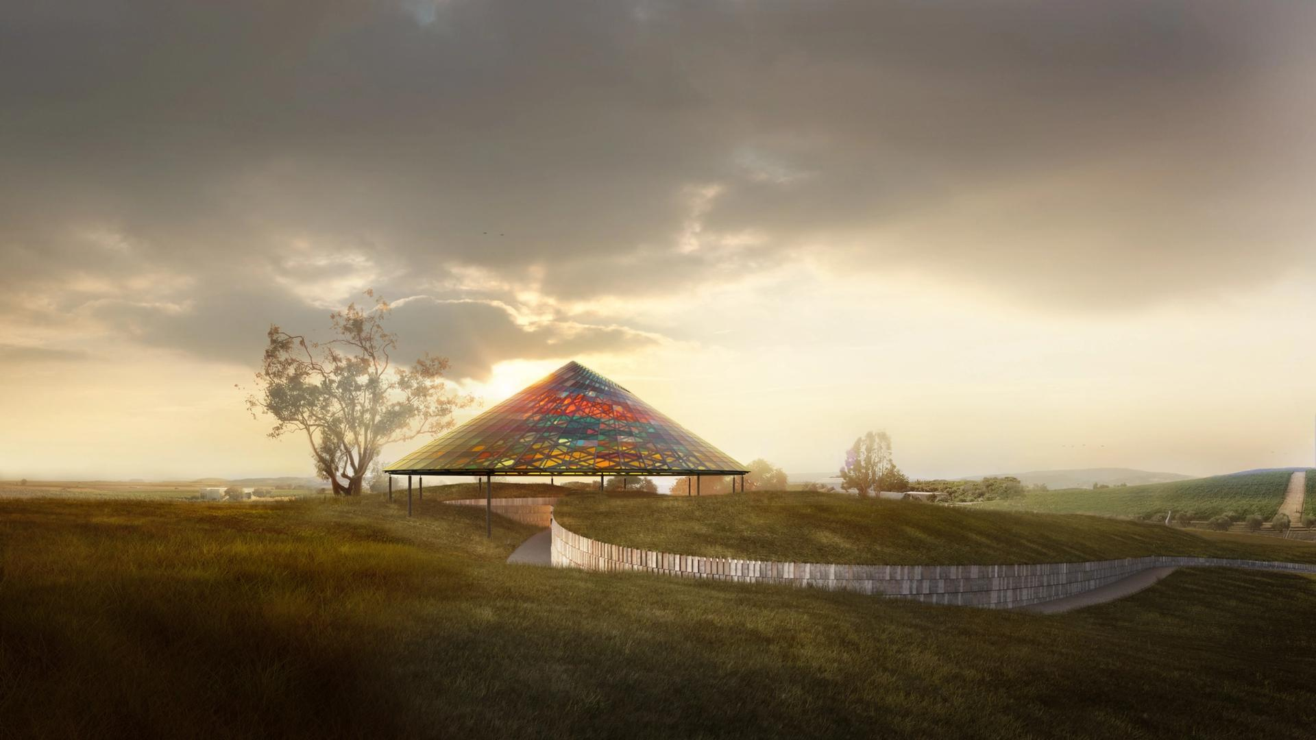 Rendering of the new wine-tasting pavilion © The Donum Estate and Studio Other Spaces