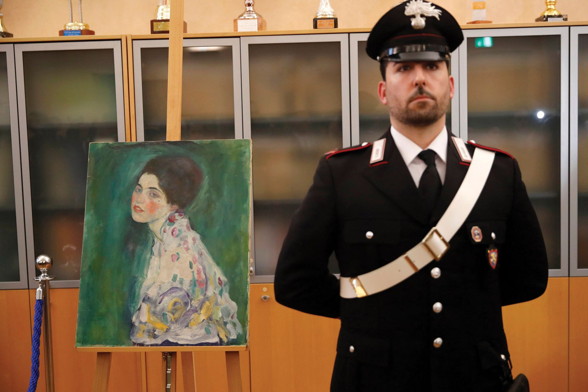Gustav Klimt's Portrait of a Lady (1916-17) was found inside a bag by gardeners clearing ivy from a wall at the Ricci Oddi gallery in Piacenza, Italy, in December 2019. It had been missing for 20 years © Rex Shutterstock