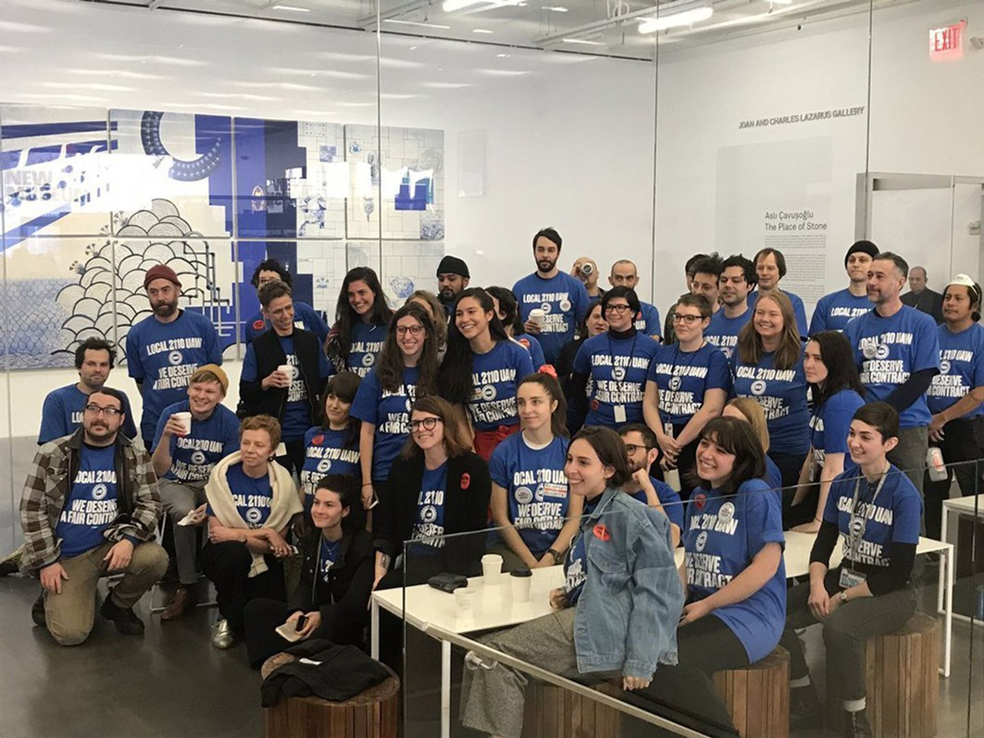 New Museum employees during their union organising campaign