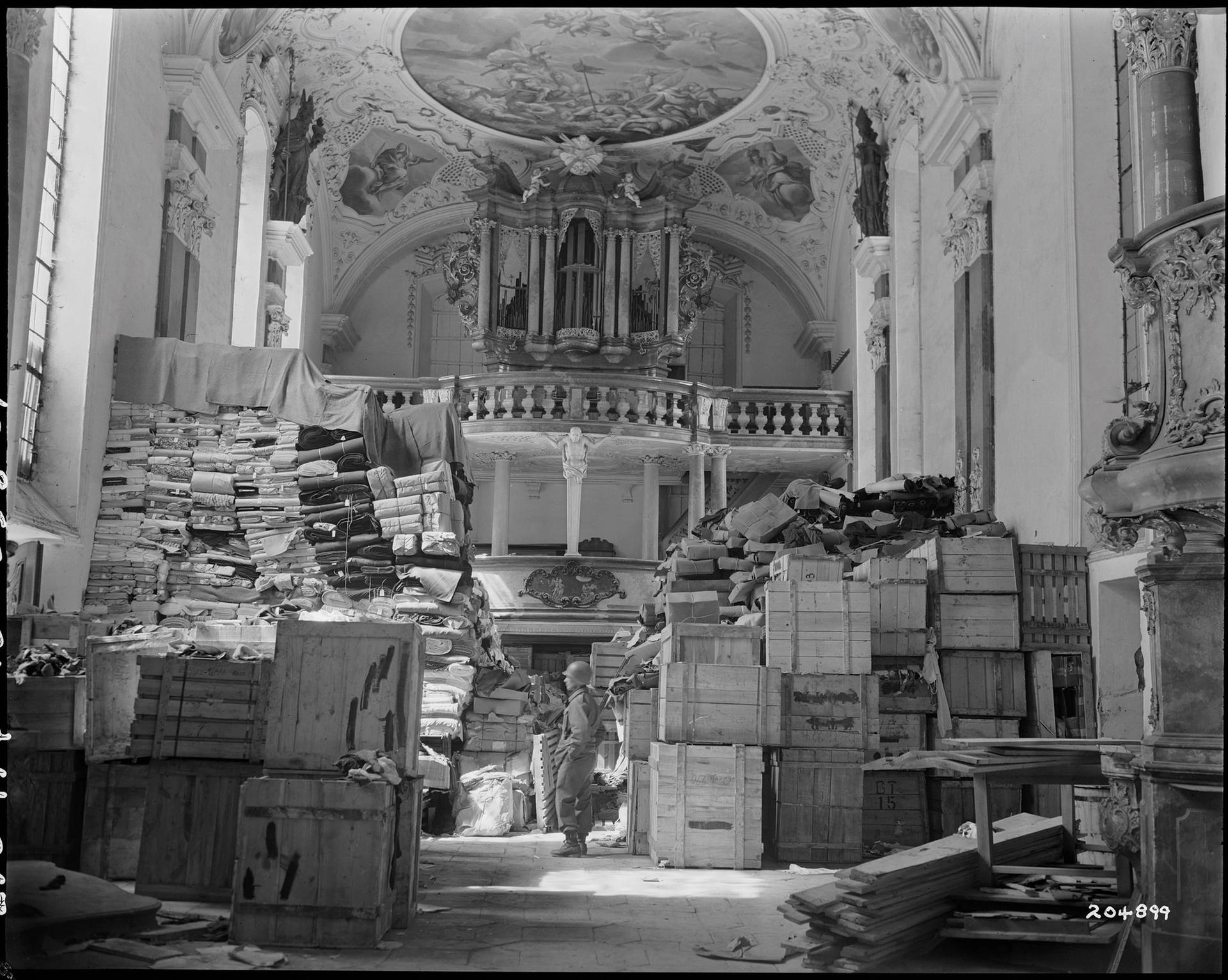 At the end of the Second World War, Nazi loot was found in various locations, such as this church near Nuremberg National Archives and Records Administration