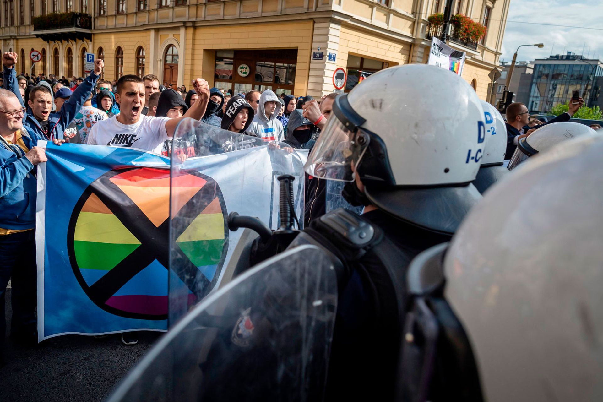 Far right extremists clash with riot police at the Gay Pride parade in Lublin, eastern Poland, on 28 September Wojtek Radwanski/AFP/Getty Images