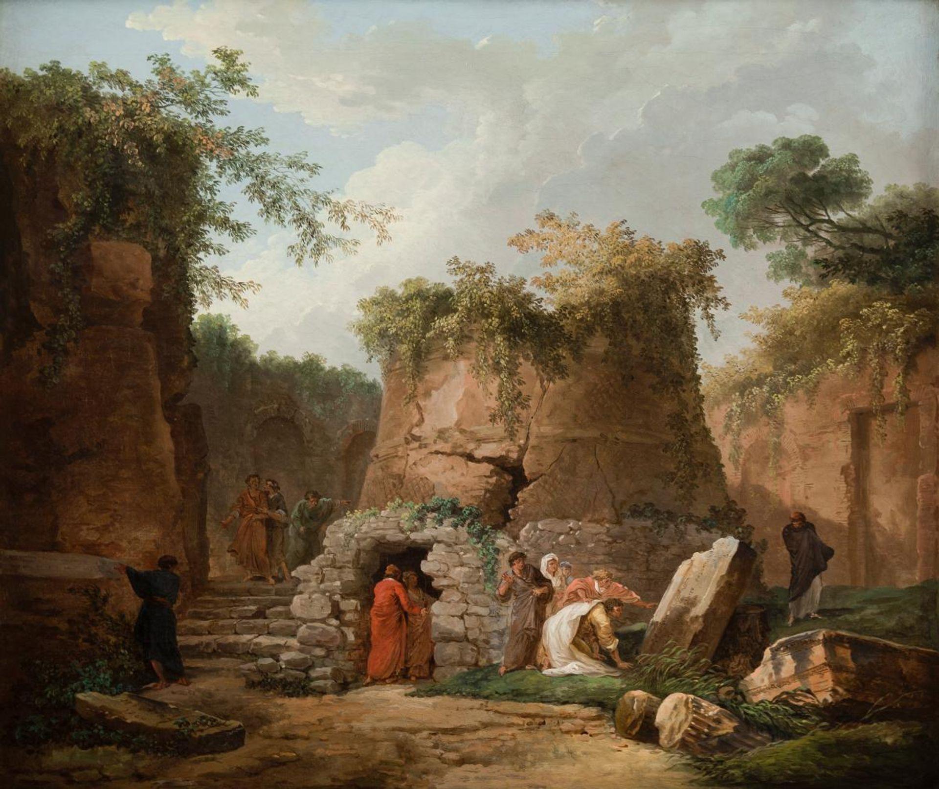 The Tomb of Virgil at Posilipo, near Naples (1784) by Hubert Robert courtesy La Salle University