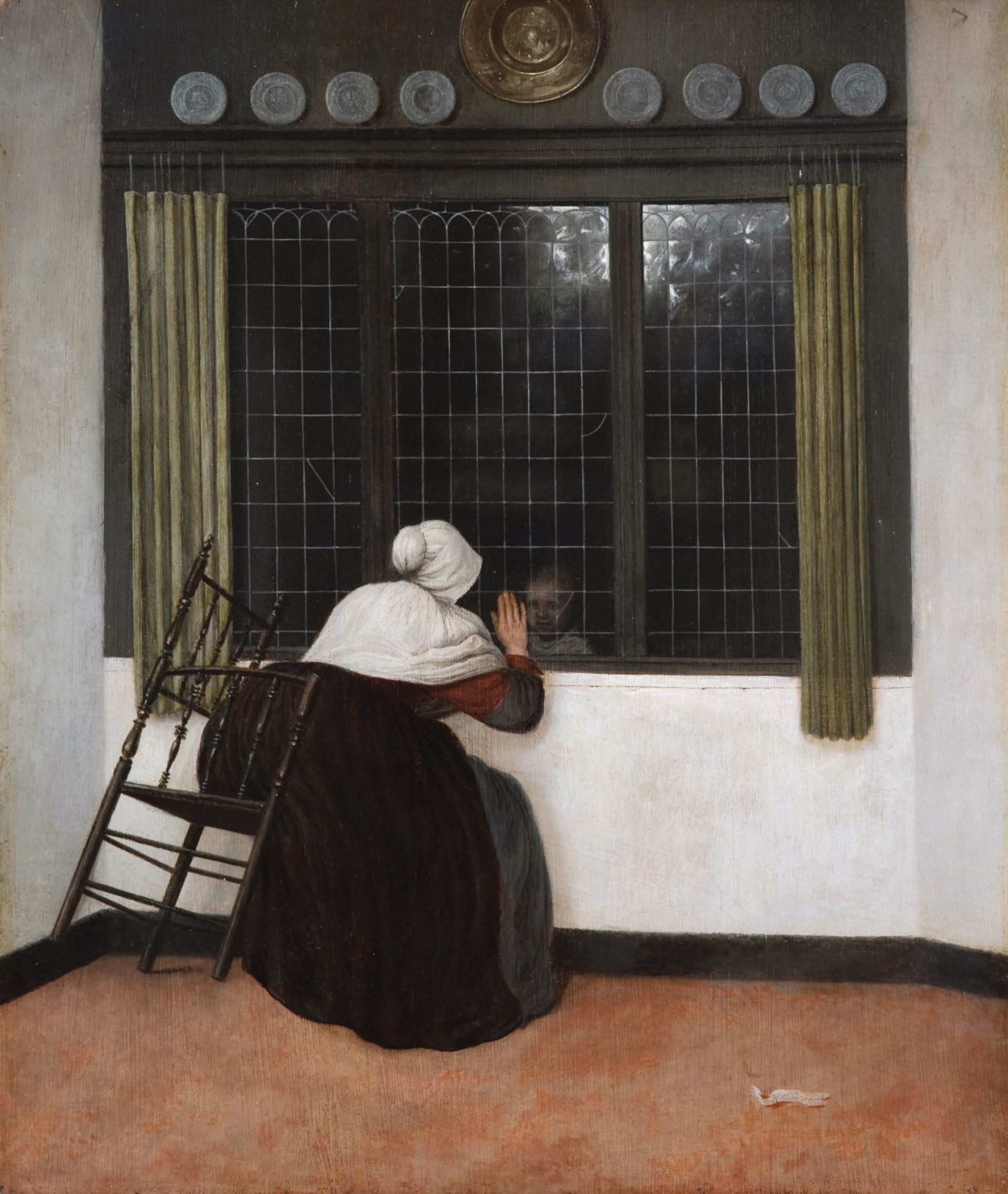 Vrel's work focuses on enigmatic characters, as in Seated Woman looking at a Child through a Window (after 1656) Fondation Custodia