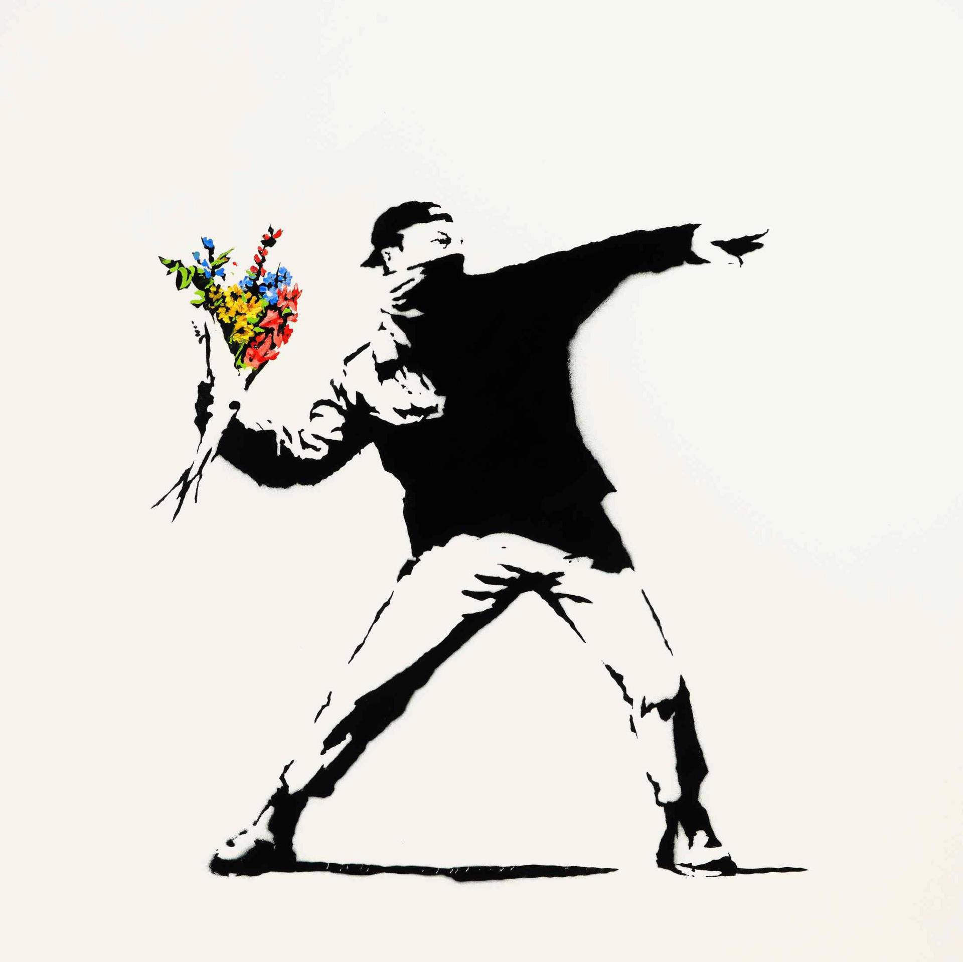 Banksy's Love is in the Air Courtesy of Sotheby's