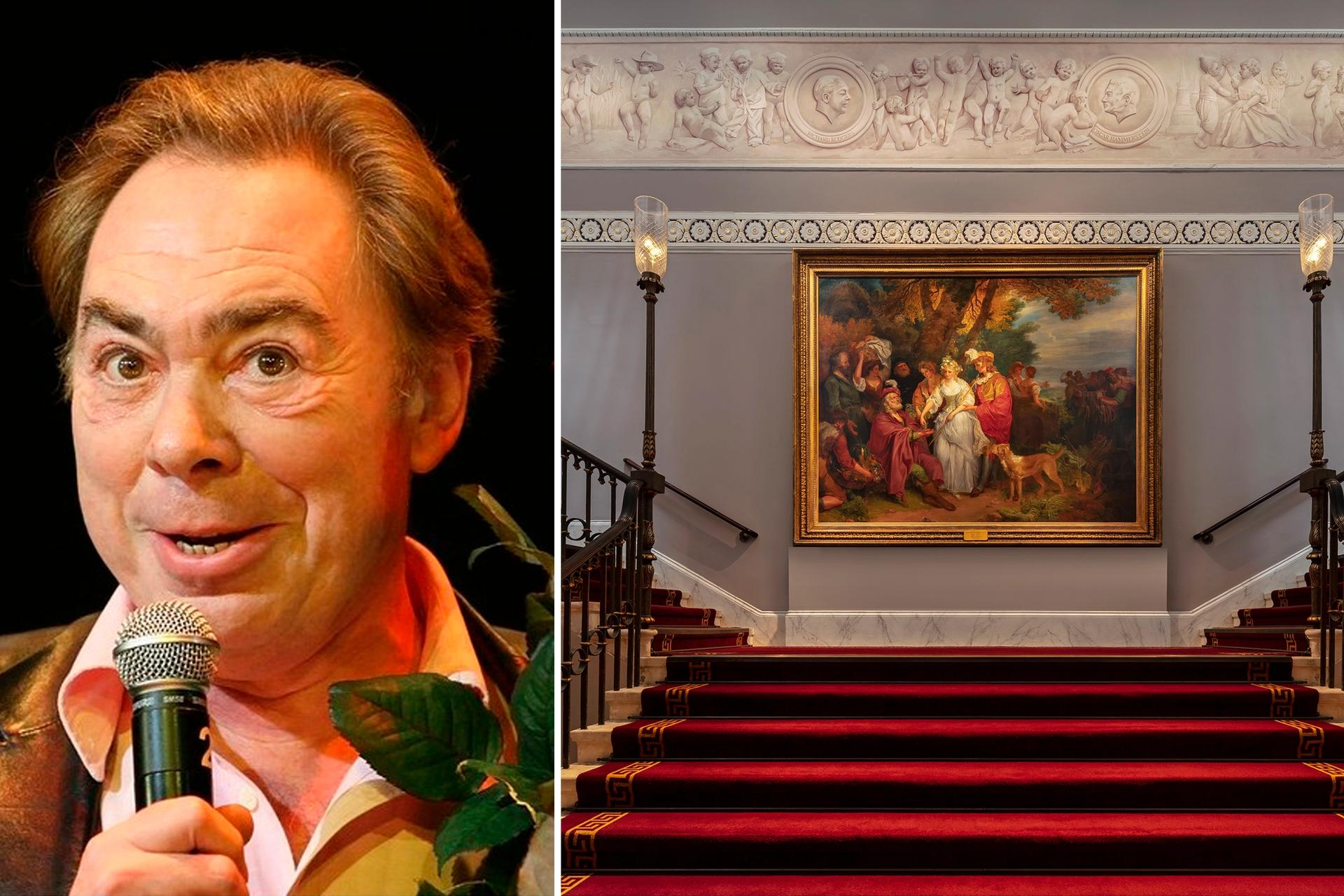 Andrew Lloyd Webber is showing some of his Pre-Raphaelite masterpieces at Theatre Royal Drury Lane. Pictured: William Hamilton's Love's Labours Lost, Act IV, Scene 1 (1788) Webber: Effie/Wikimedia; Theatre: Courtesy of TM Lighting and Andrew Beasley Photography