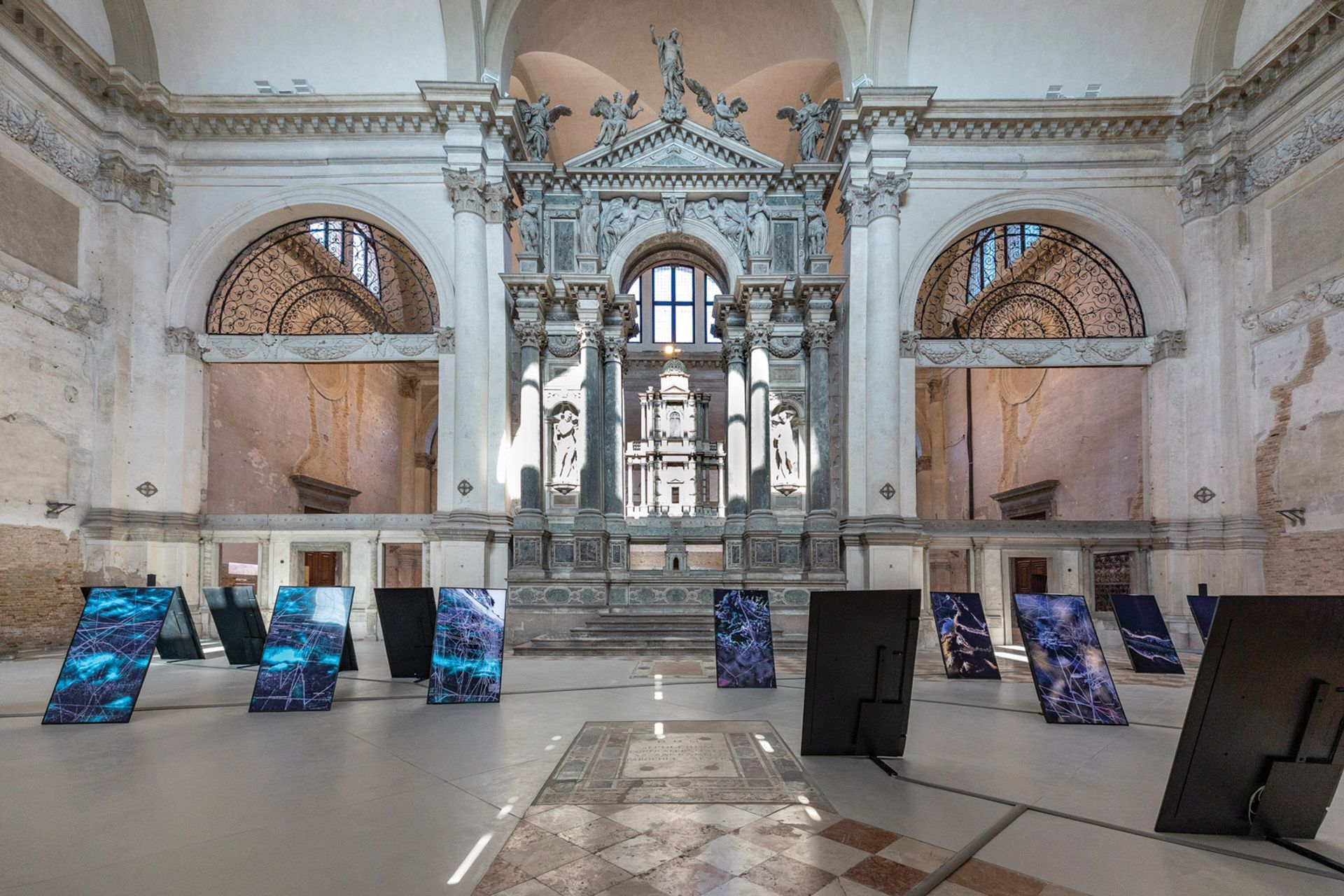 An installation by the architectural group Territorial Agency visualises global sea-level rise at Ocean Space in Venice, itself at risk of severe flooding by 2100 Photo: Enrico Fiorese