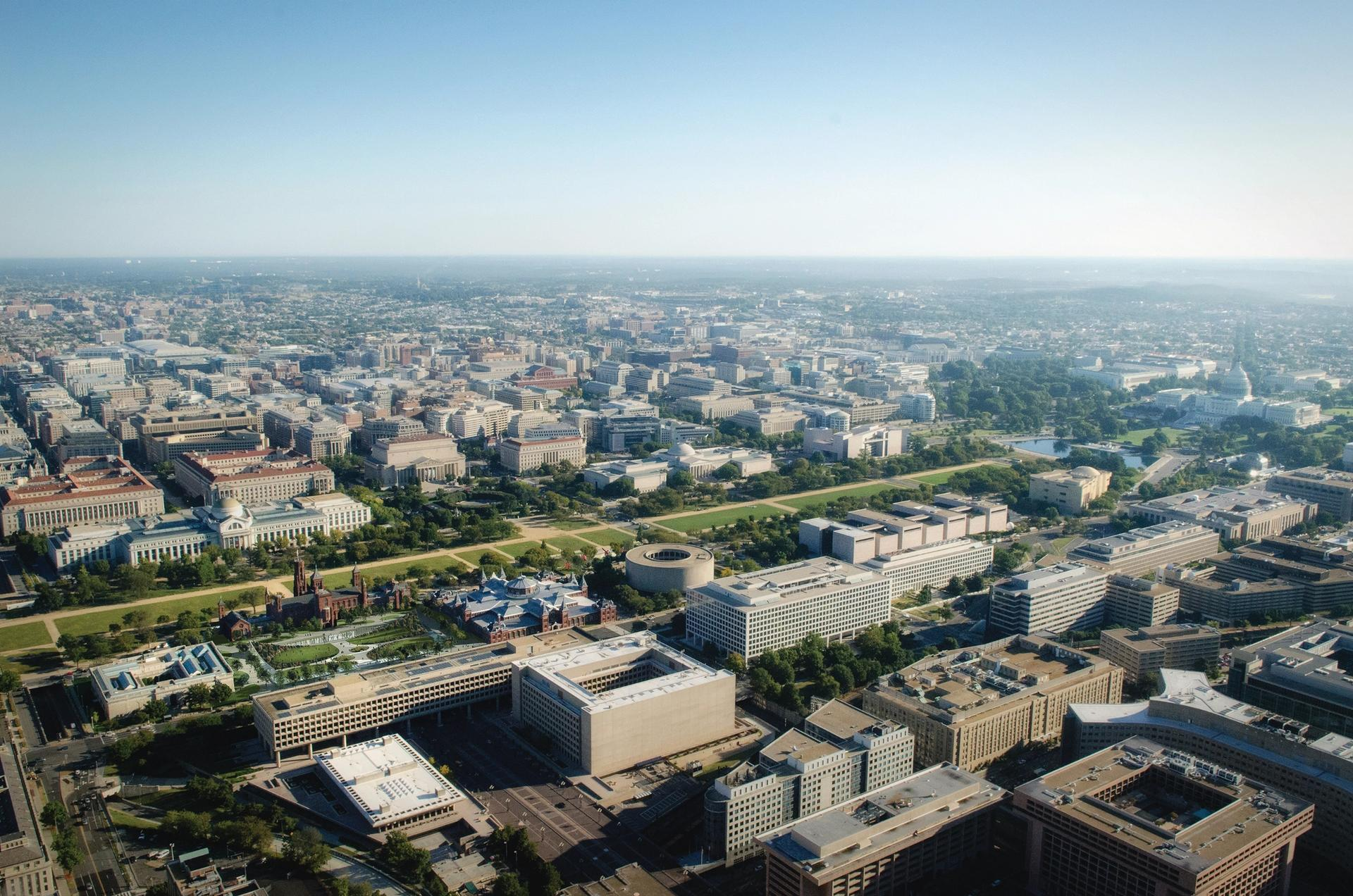 An aerial view of the National Mall in Washington, DC. Sites there are being considered for new museums devoted to Latino culture and women's history, but space is at a premium Courtesy of the Smithsonian Institution