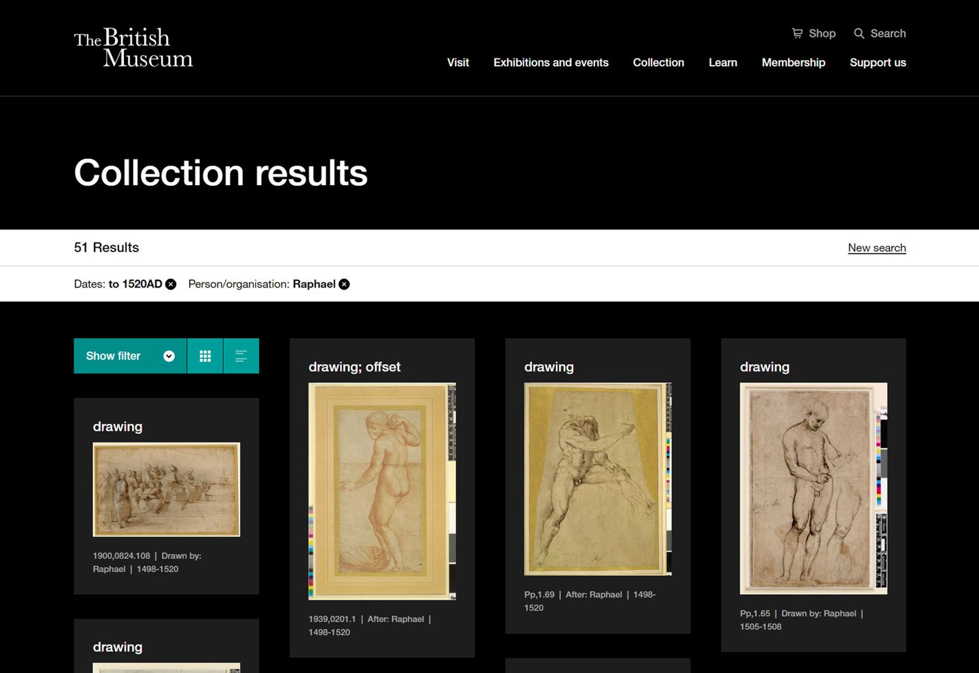 An example of the recently revamped results page of the British Museum Collection Online © The Trustees of the British Museum