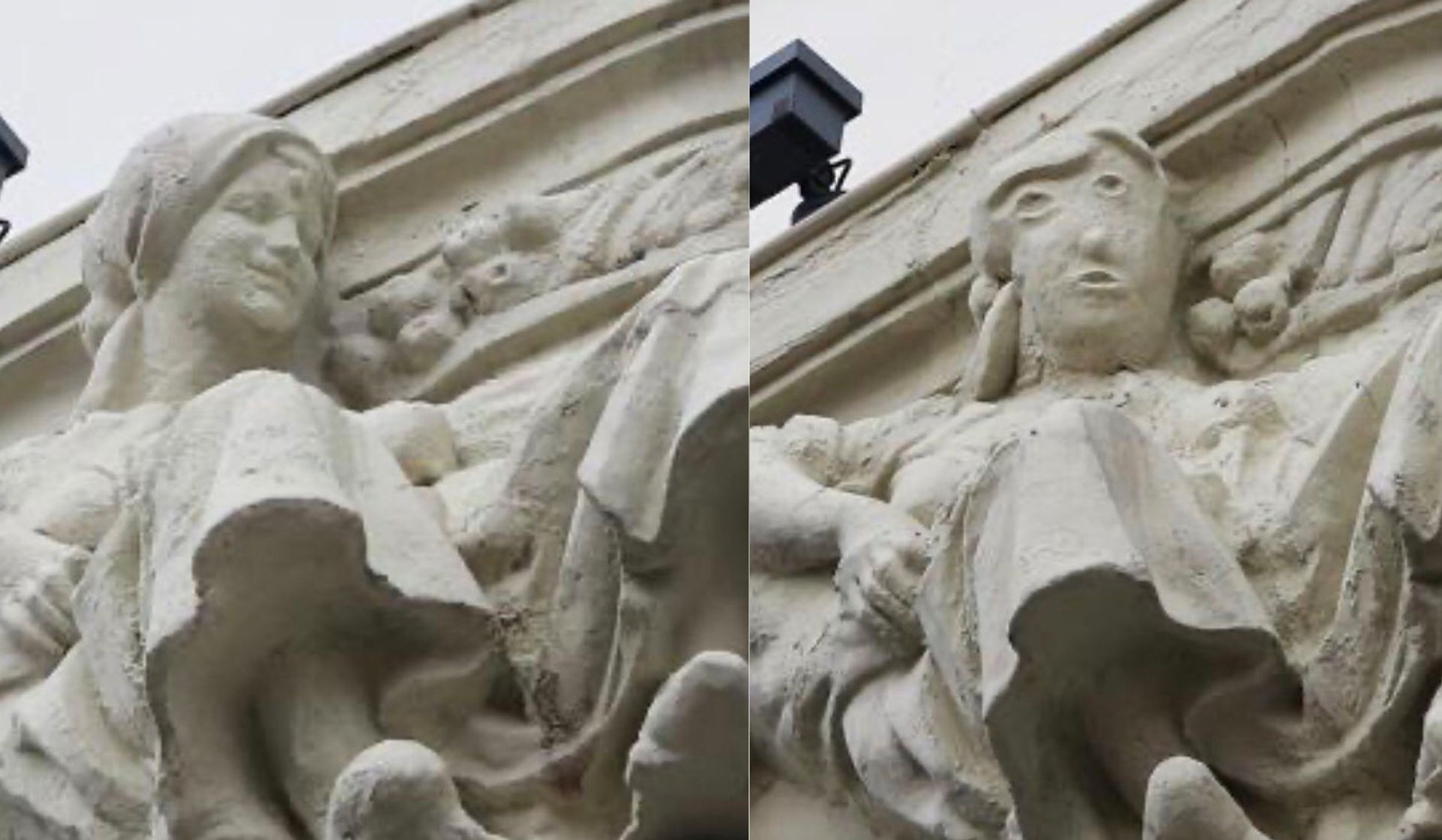 Before and after of the disastrously restored statue, which adorns a high street bank in the Spanish city of Palencia © Antonio Guzmán Capel / Facebook