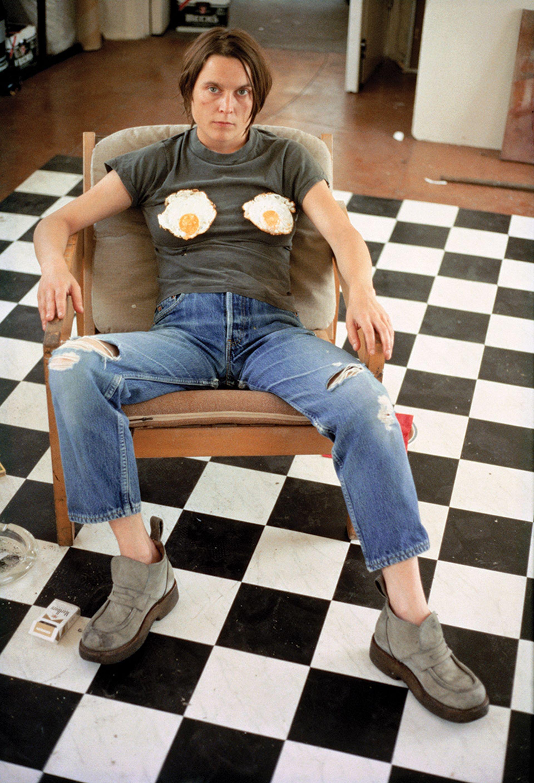 An eggcellent choice of clothing: Sarah Lucas's Self-portrait with Fried Eggs (1996) Photo: © Sarah Lucas; courtesy Sadie Coles HQ, London