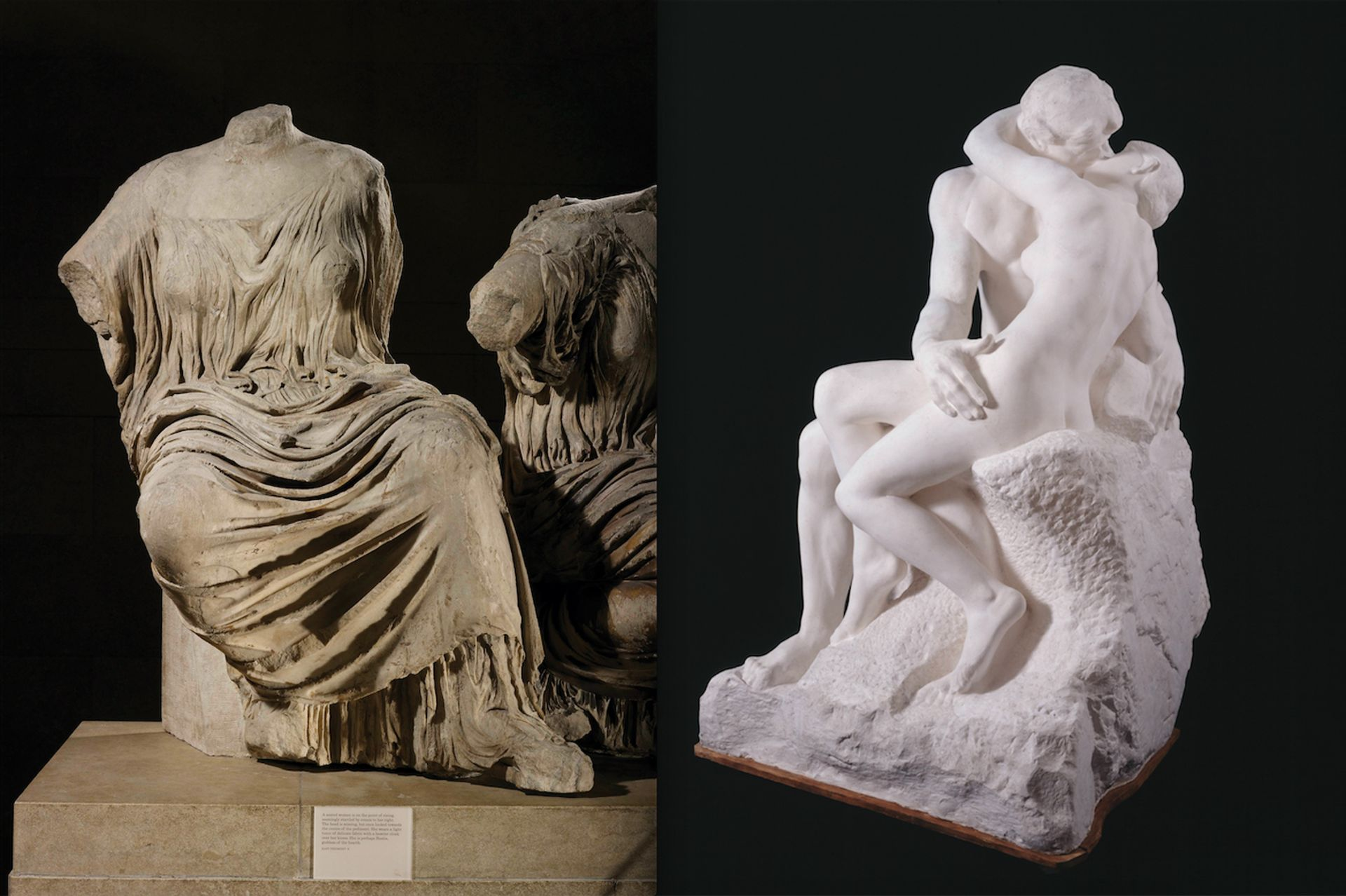 Auguste Rodin manipulated the form of Phidias's rising goddess figure from the east pediment of the Parthenon (left) to create a new composition for The Kiss Goddess: The Trustees of the British Museum. Rodin (plaster cast made from marble version after 1898): © musee Rodin; Photo: Adam Rzepka