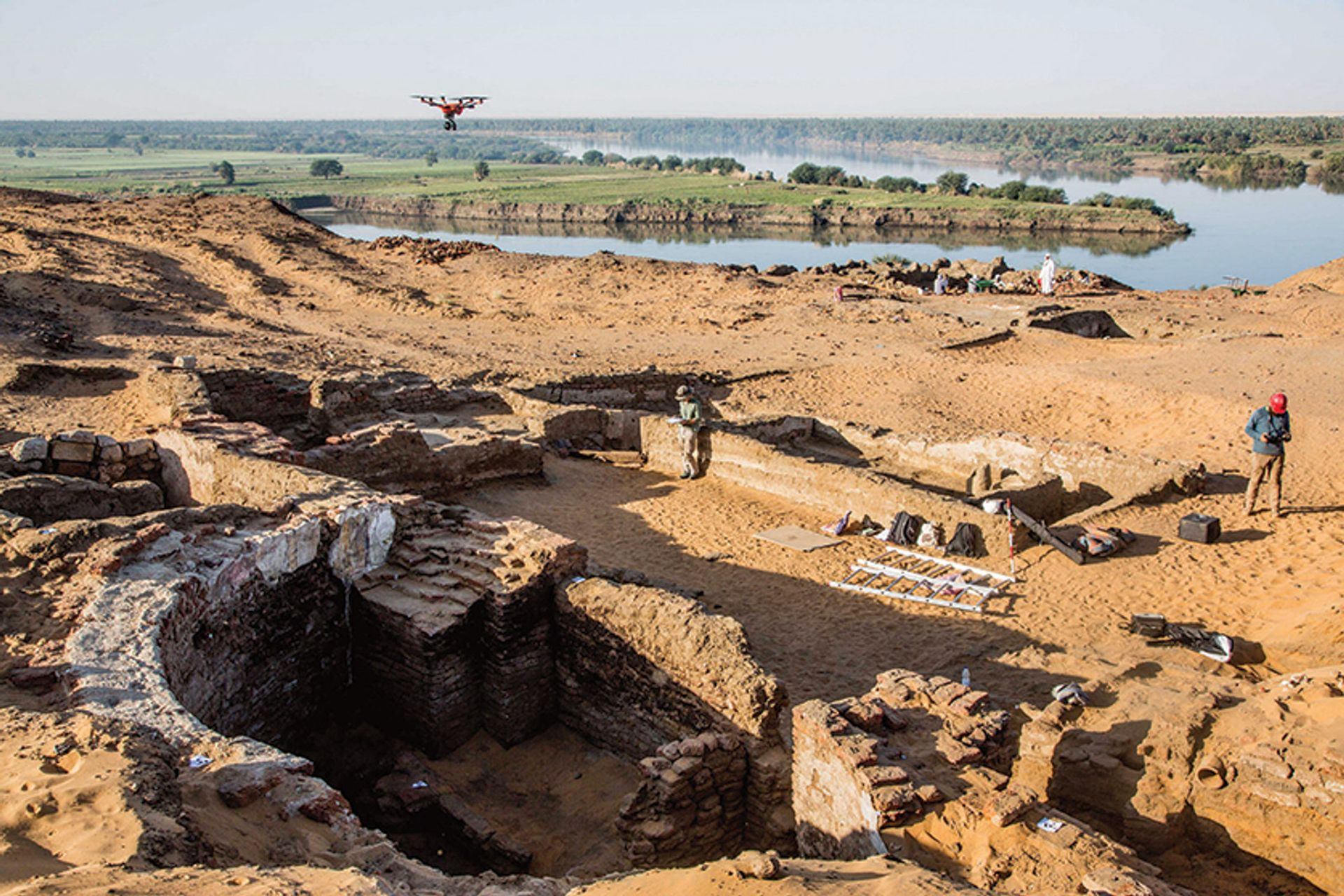 Excavations in Old Dongola revealed two walls of a 6m-wide apse as well as the dome of a large tomb Polish Centre of Mediterranean Archaeology, University of Warsaw/Mateusz Rekłajtis