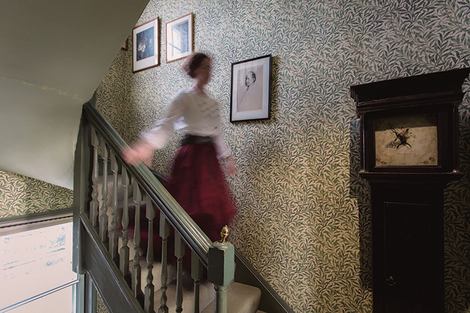 Emery Walker's House, where the stairway area is covered in William Morris 1887 Willow Bough wallpaper Anna Kunst/Courtesy of Emery Walker's House