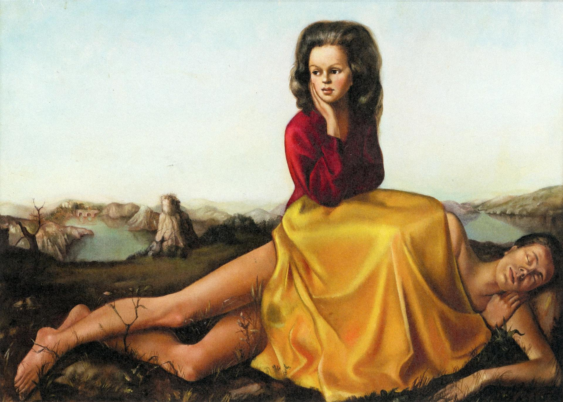 Leonor Fini, Woman Seated on a Naked Man (Femme assise sur un homme nu) (1942) Private collection