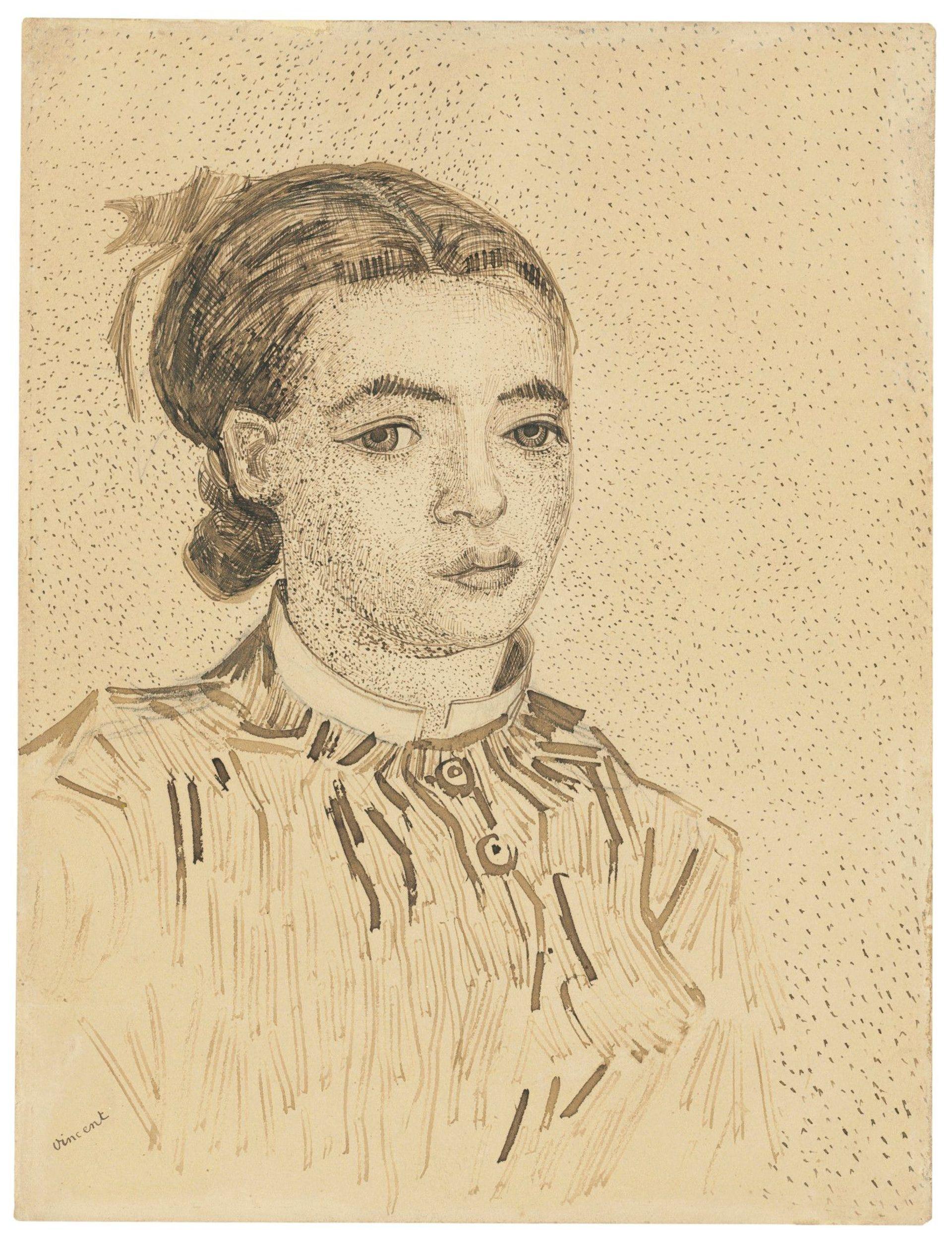 Vincent van Gogh's drawing of La Mousmé (July-August 1888) Courtesy of Christie's