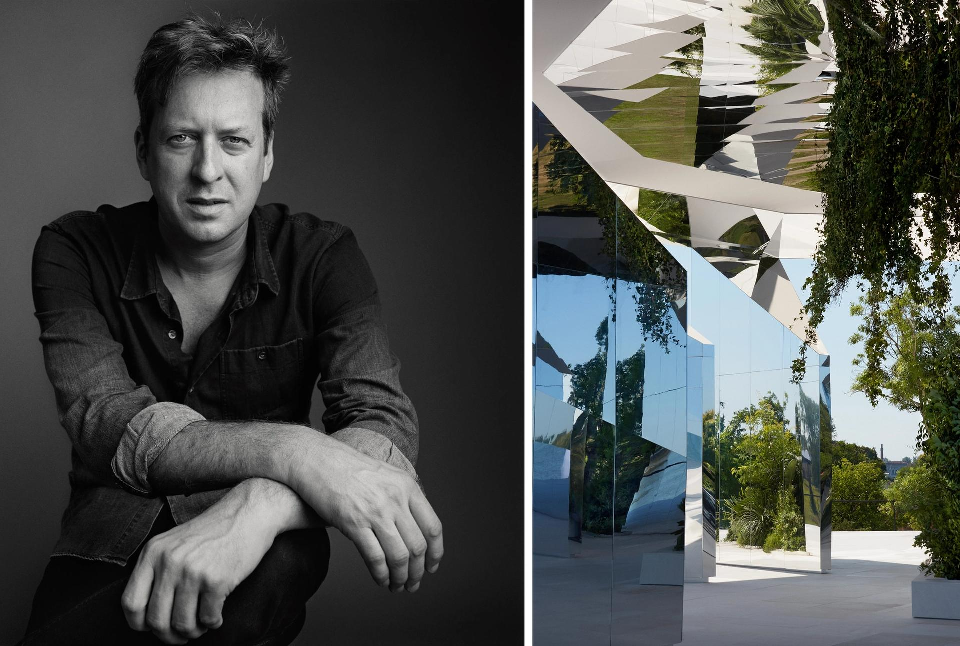 Doug Aitken created a mirrored pavilion on an island in Venice for Yves Saint Laurent's Spring/Summer 2022 show Courtesy of YSL