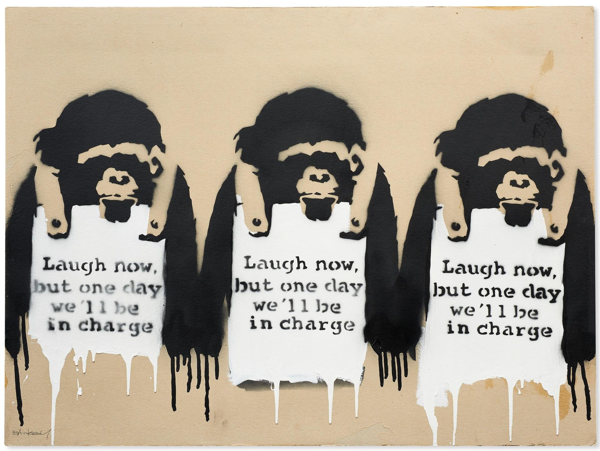 Banksy's Laugh Now But One Day We'll Be In Charge (2002), sold at Christie's on 11 May for $2.1m (with fees) Courtesy of Christie's