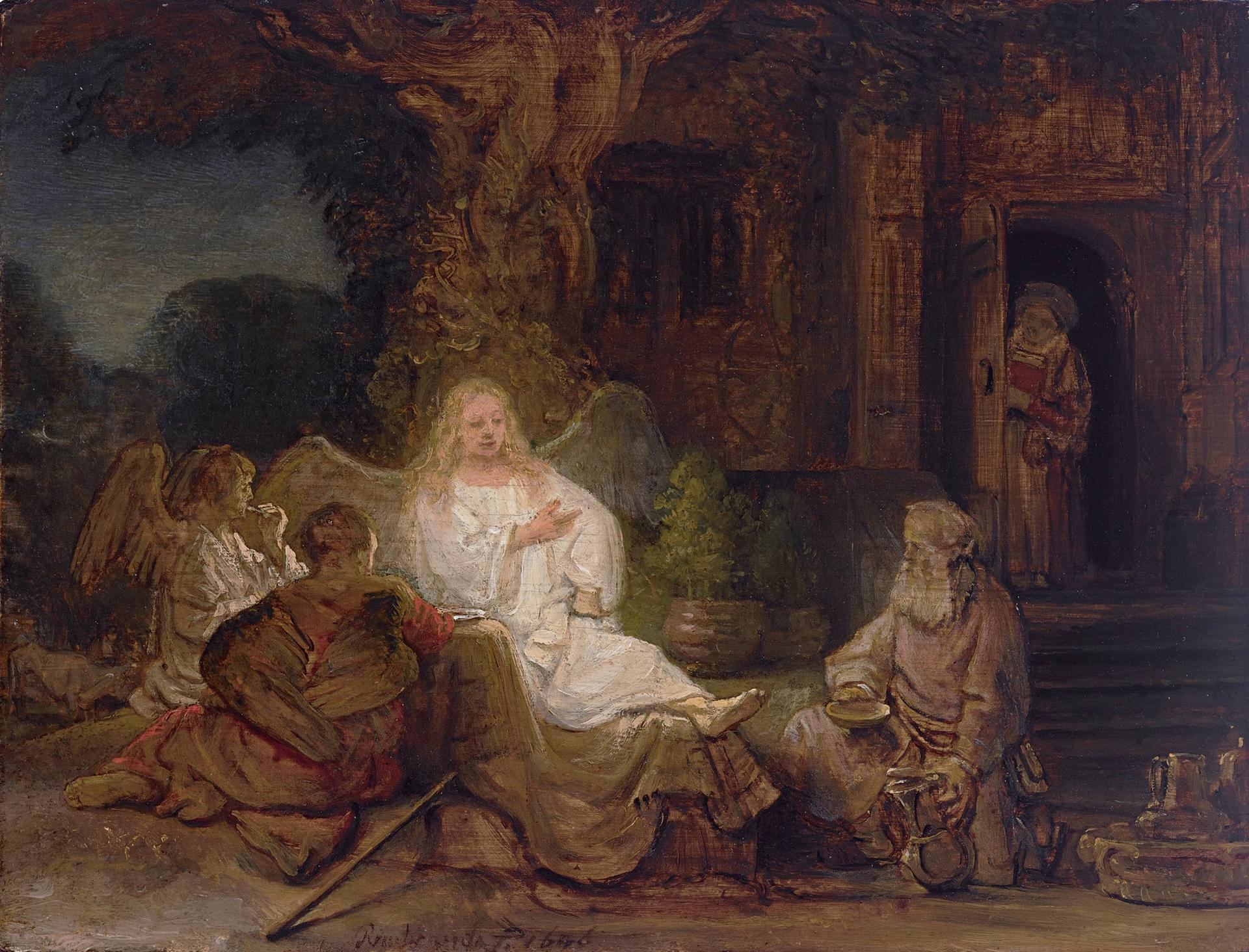 Abraham and the Angels (1646), Rembrandt van Rijn courtesy Sotheby's