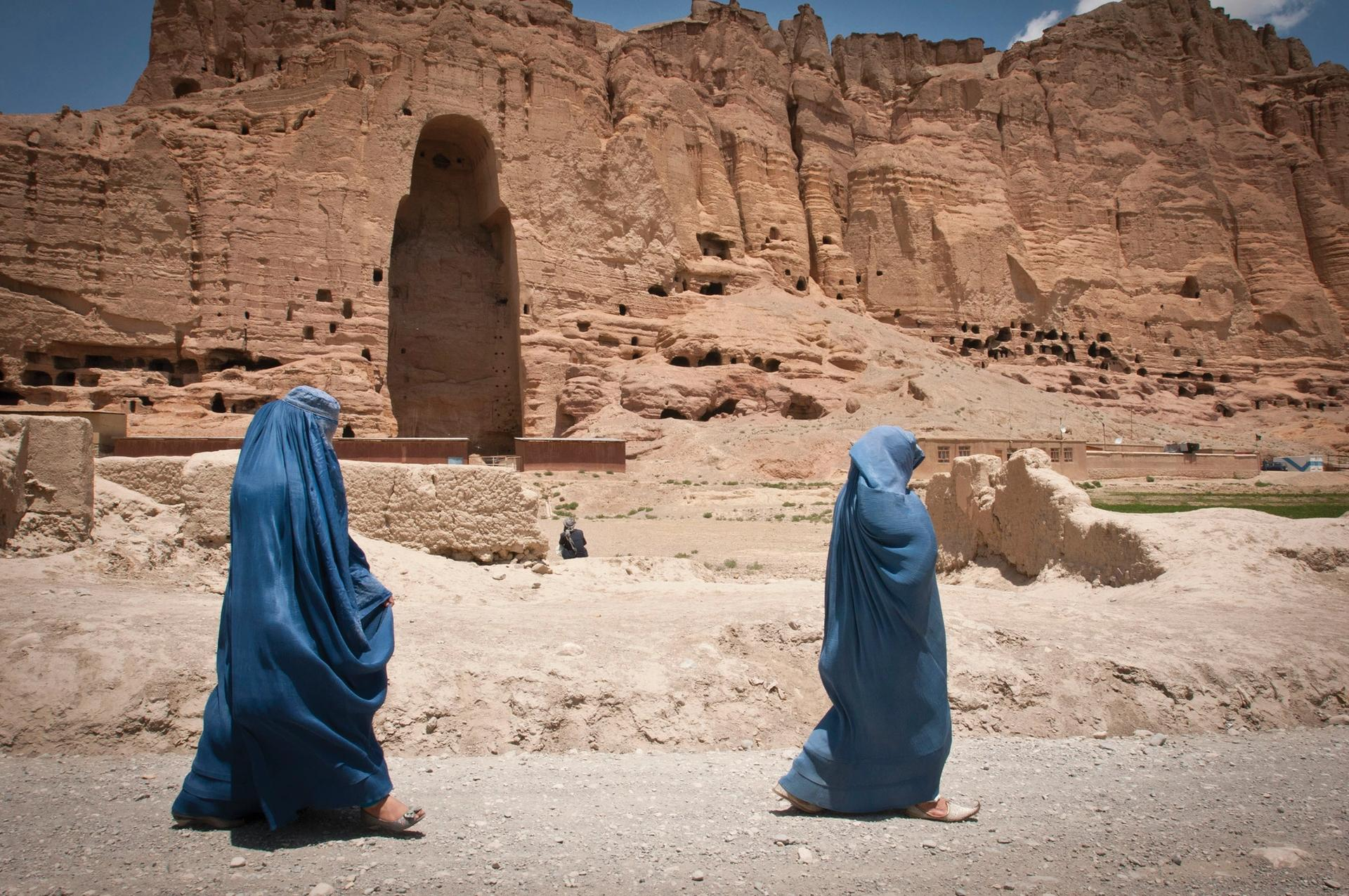 The ancient Buddhas of Bamiyan, the sculptures in Afghanistan that were built in 507AD and 554AD, were the largest statues of standing Buddha on Earth until the Taliban blew them up in 2001 Photo: US Army / Sgt. Ken Scar, 7th Mobile Public Affairs Detachment