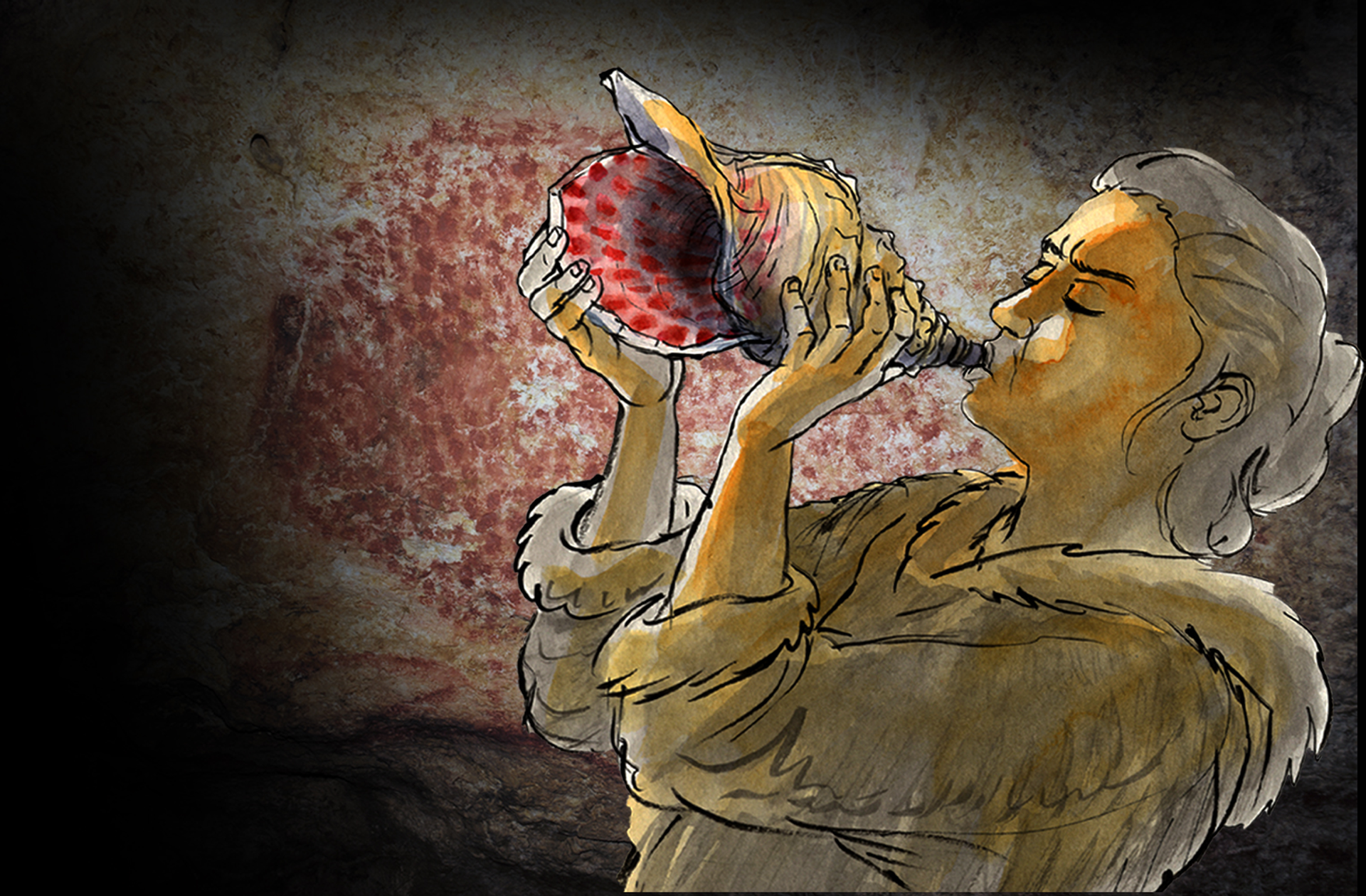 An artist's reconstruction of the instrument being played. In the background, a red dotted buffalo decorates the walls of the Marsoulas Cave. Similar motifs decorate the instrument. © Carole Fritz et al. 2021 / drawing: Gilles Tosello