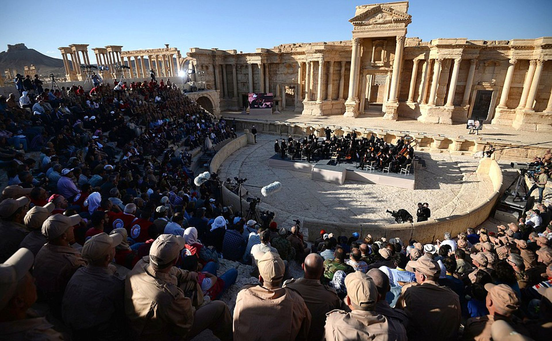 A concert by the Mariinsky State Academic Symphony Orchestra at Palmyra in 2016 Courtesy of Russia Presidential Executive Office