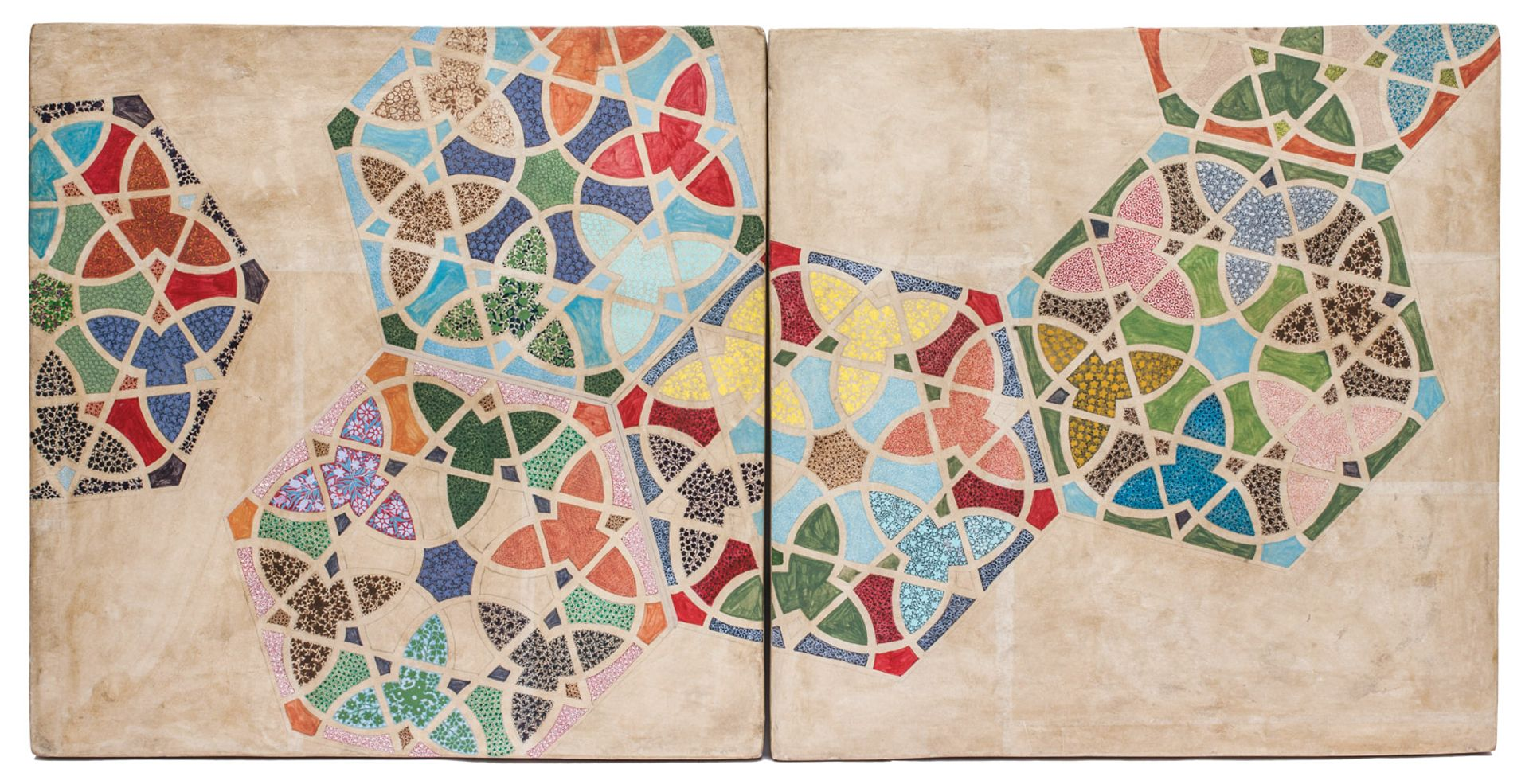 The Bengali artist Praneet Soi's Srinagar II (2015) is part of a series of papier-mache tiles courtesy of Experimenter and the artist