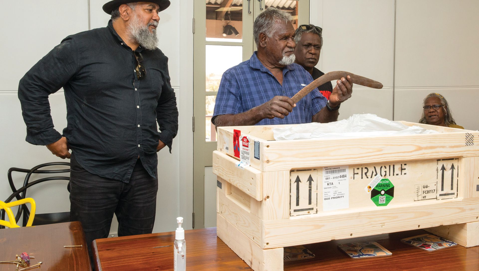 Eight objects were repatriated from a UK private collector to the Yindjibarndi people via the Australian government-funded project Return of Cultural Heritage Photo: Tangiora; © Ngaarda Media for AIATSIS