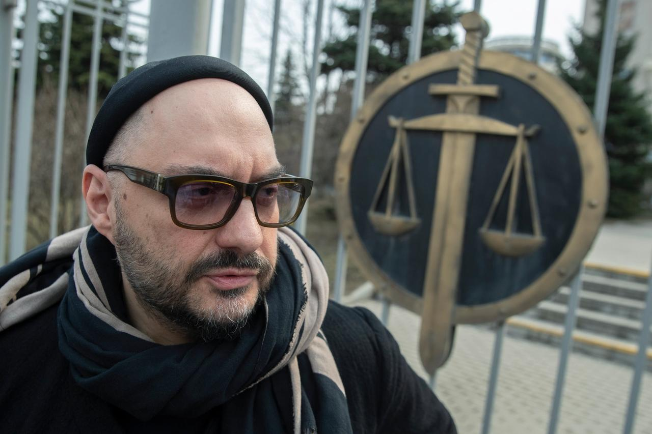 Russian theatre and film director Kirill Serebrennikov speaks to the media after a court hearing in Moscow, in 2019 AP Photo/Pavel Golovkin