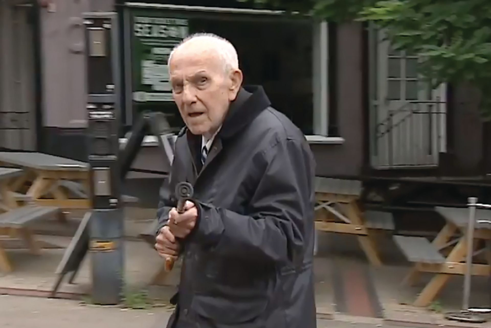 Des Pickersgill on his way to court in Luton this summer, where he was given a six-year sentence for his part in the theft of valuables from an elderly women. Photo: Itv News