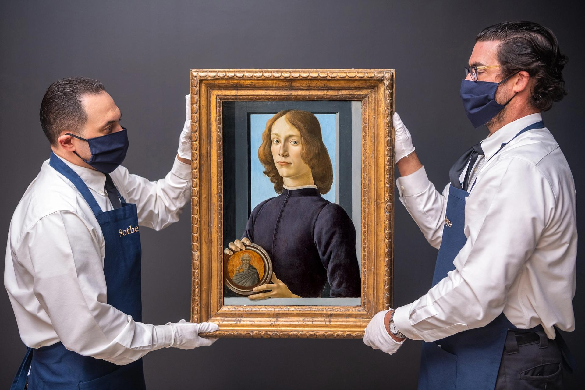 Sandro Botticelli's Young Man Holding a Roundel was sold  Sotheby's Masters Week series of sales in New York Courtesy of Sotheby's