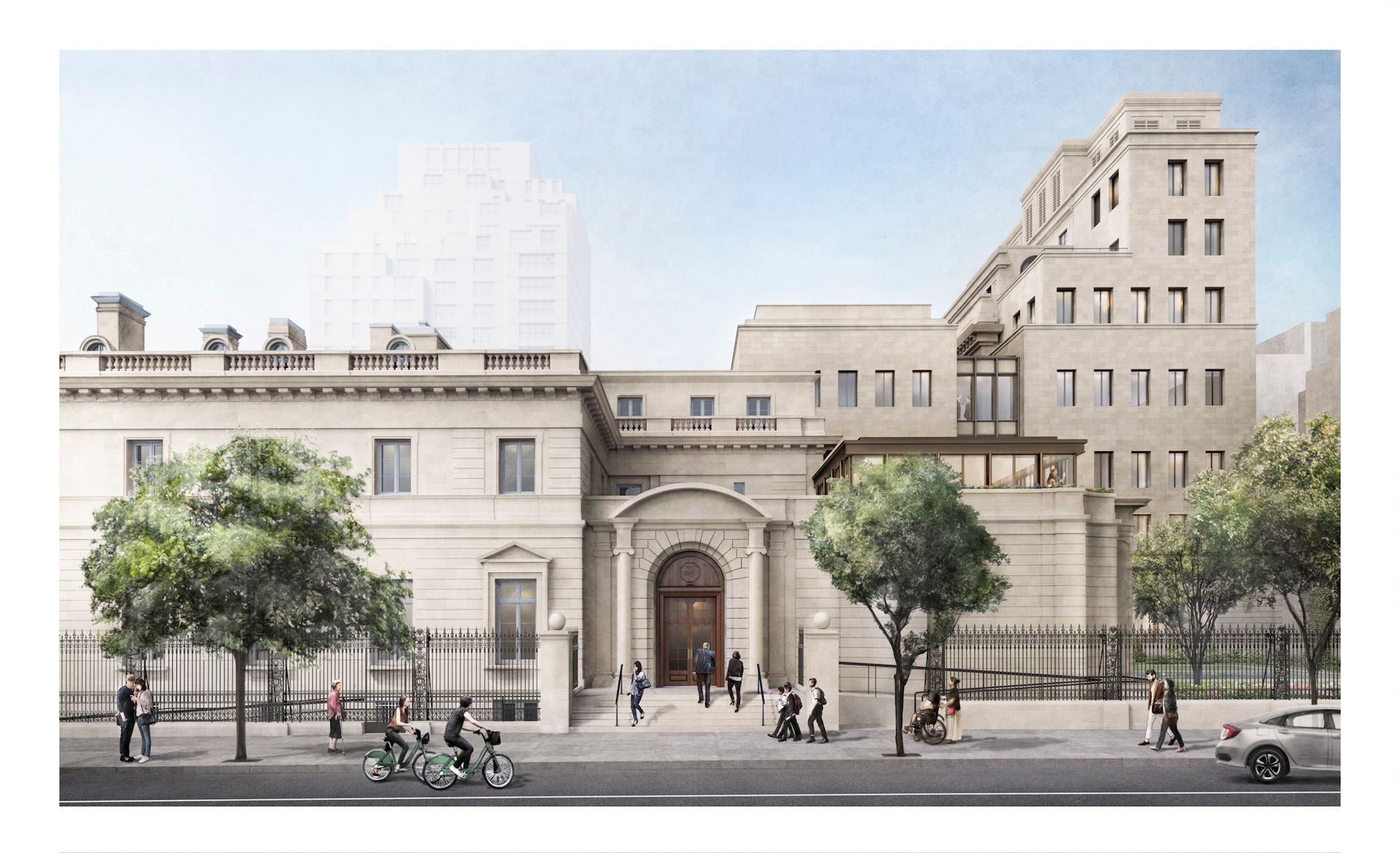Rendering of the Frick Collection expansion from 70th Street Courtesy of Selldorf Architects