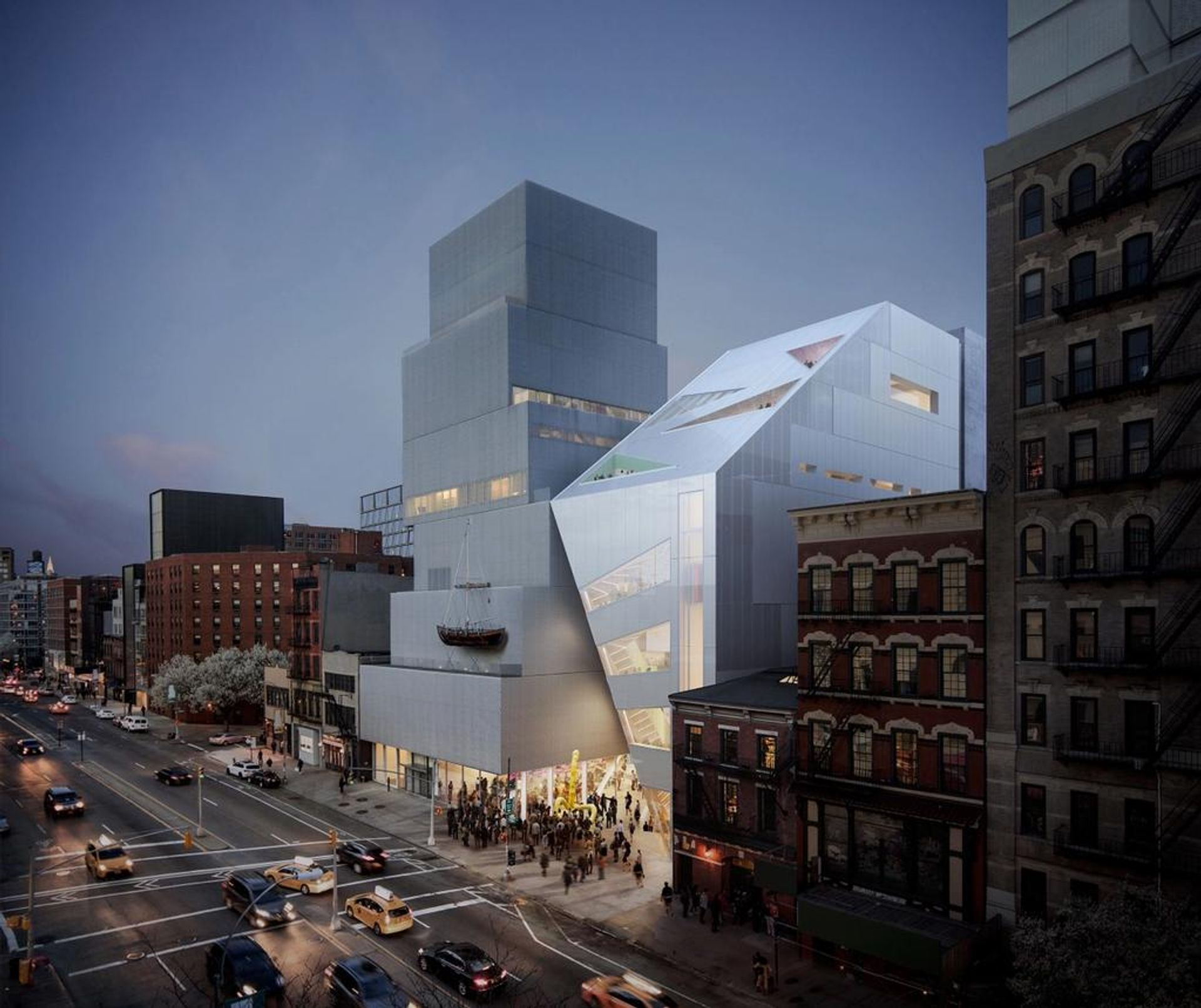 The New Museum on the Bowery in New York with a rendering of its planned addition to the right. Photo: OMA/Bloomimages.de.