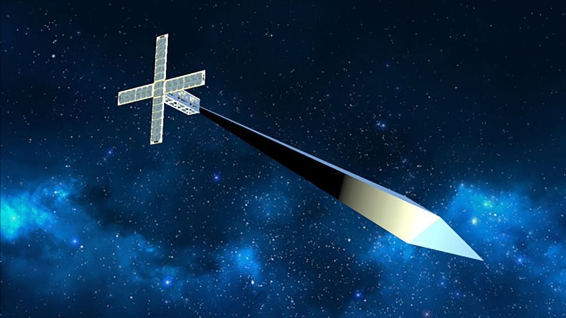 A rendering of Trevor Paglen's now unrealised Orbital Reflector project Photo courtesy of the Nevada Museum of Art