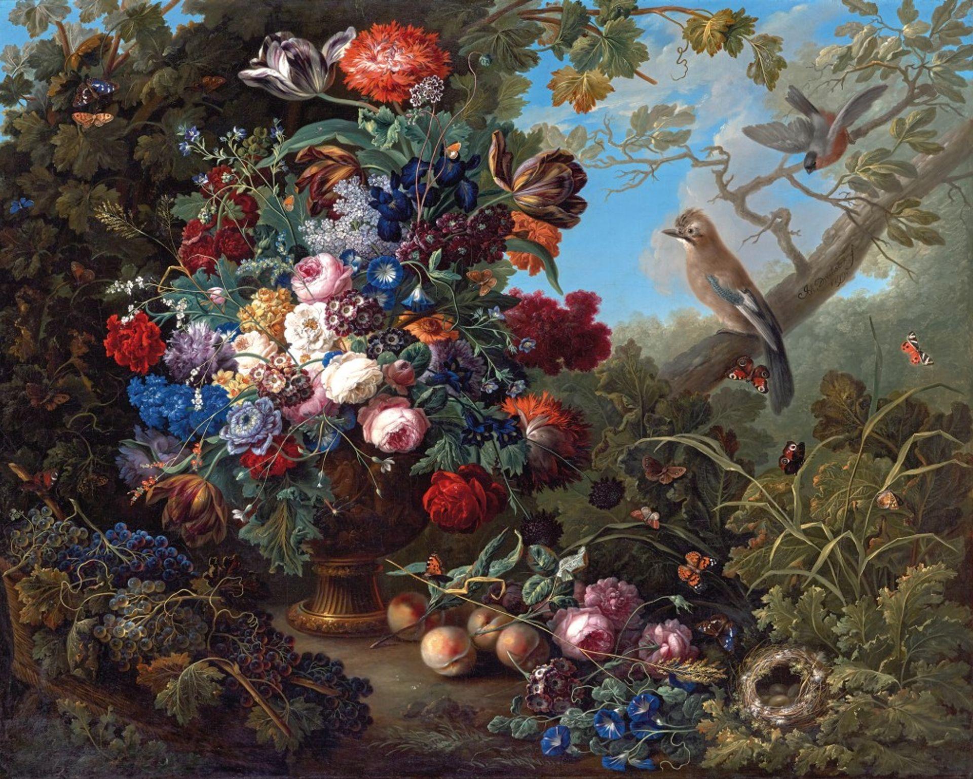 Johann Baptist Drechsler's Großes Blumenstillleben mit Vögeln (1799) Belvedere, Vienna. Photo: Johannes Stoll
