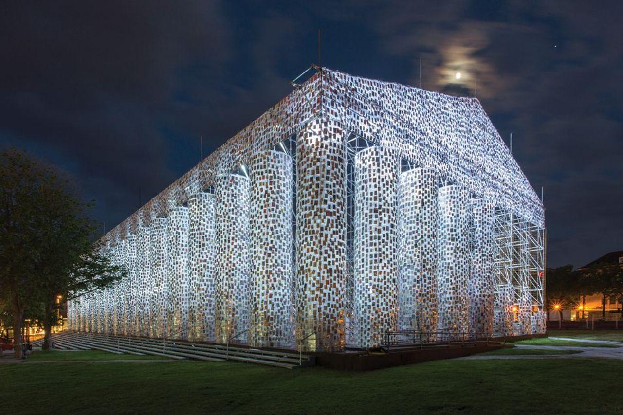 Marta Minujín's The Parthenon of Books (2017) was on show in Kassel Photo: Roman März