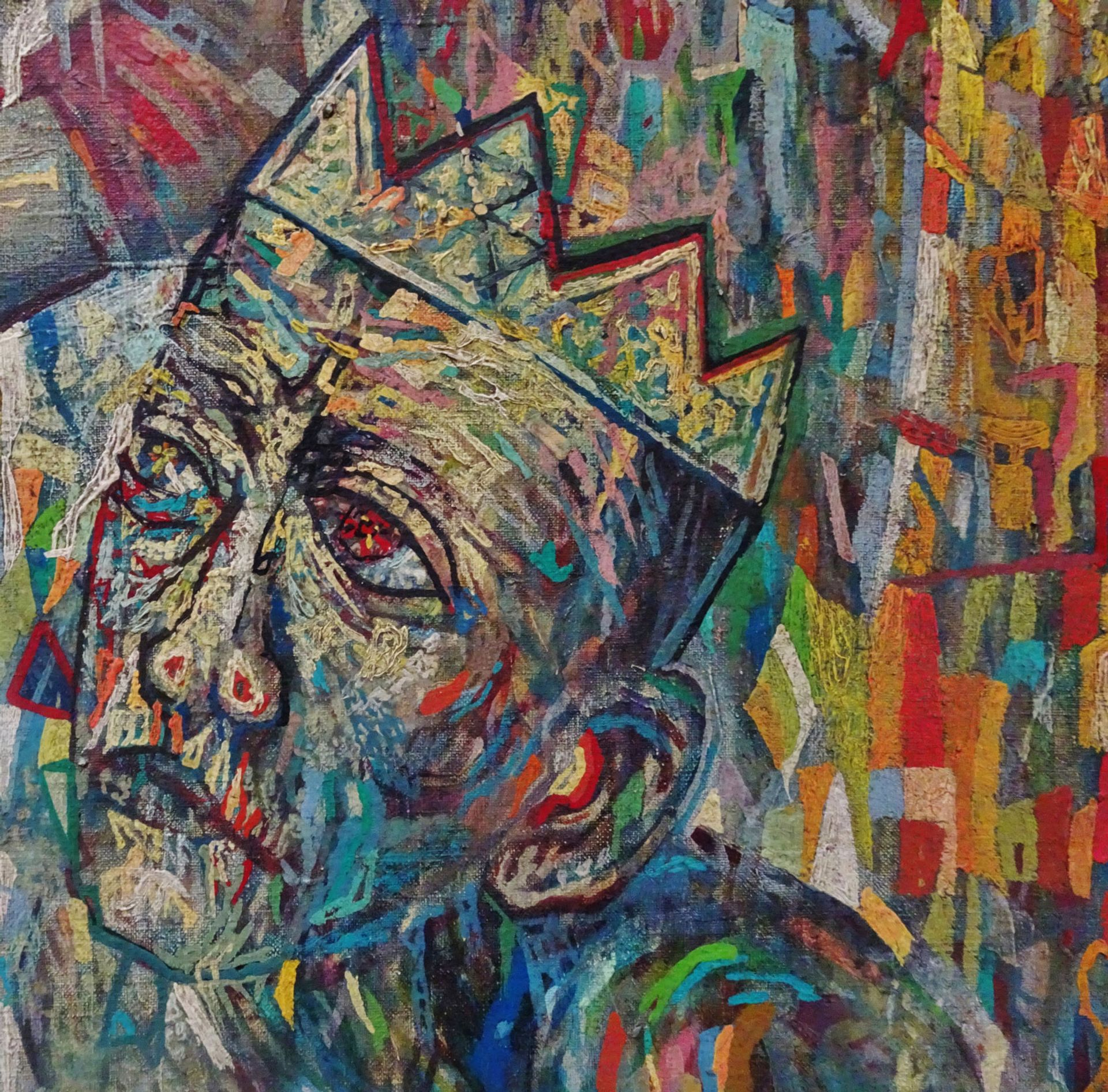 Detail of painting presented in Ghent as Pavel Filonov's Supreme Being (1914) Fondation Dieleghem