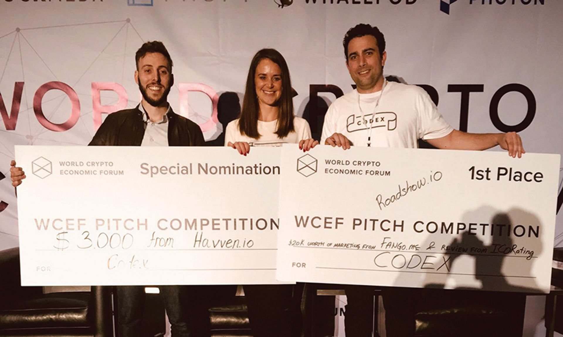 Codex won the token pitch competition at the first World Crypto Economic Forum in San Francisco in January. From left to right: chief executive Mark Lurie, chief operating officer Jess Houlgrave, and business development director Andreas Becker Courtesy Codex