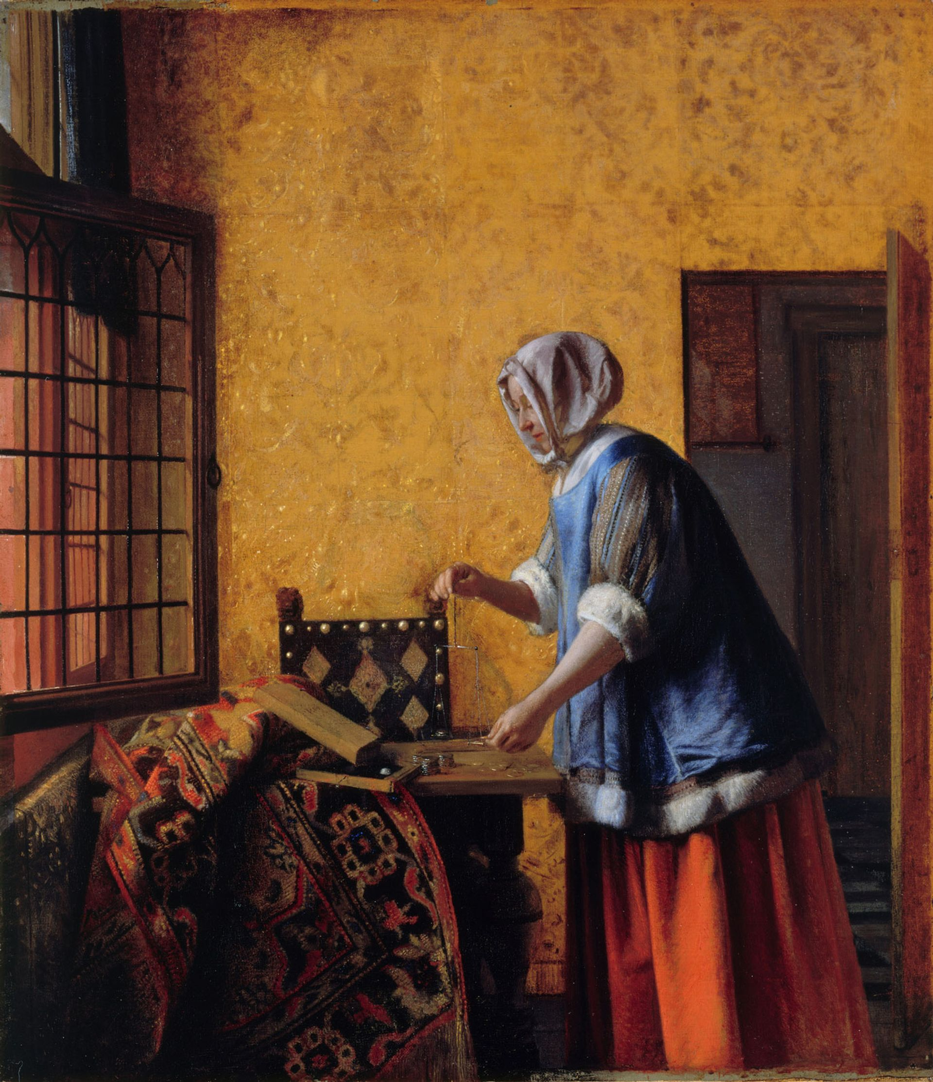 Pieter de Hooch's signature is thought to have been discovered in the painting Woman weighing gold and silver Coins (around 1664) Gemäldegalerie Staatliche Museen zu Berlin