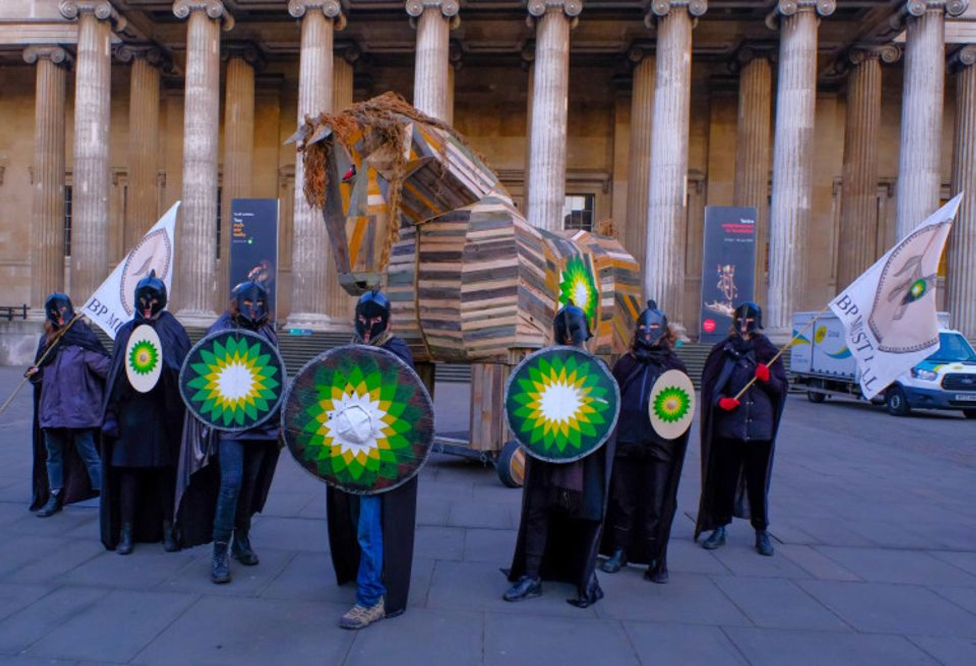 Climate activists calling on the British Museum to cut ties with its longstanding corporate sponsor, the oil and gas giant BP, occupied the London institution last month Photo: © Hugh Warwick