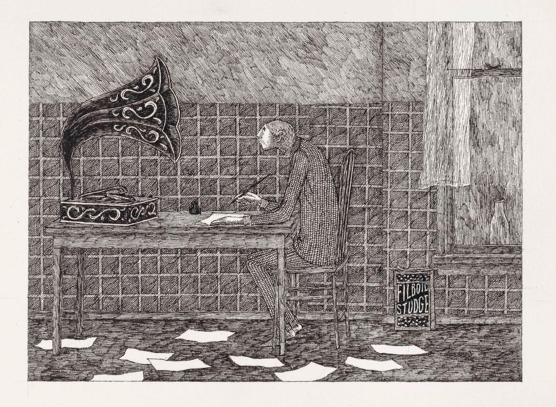 Without his clippings, Jasper now wrote long letters to Ortenzia, which went unanswered © The Edward Gorey Charitable Trust