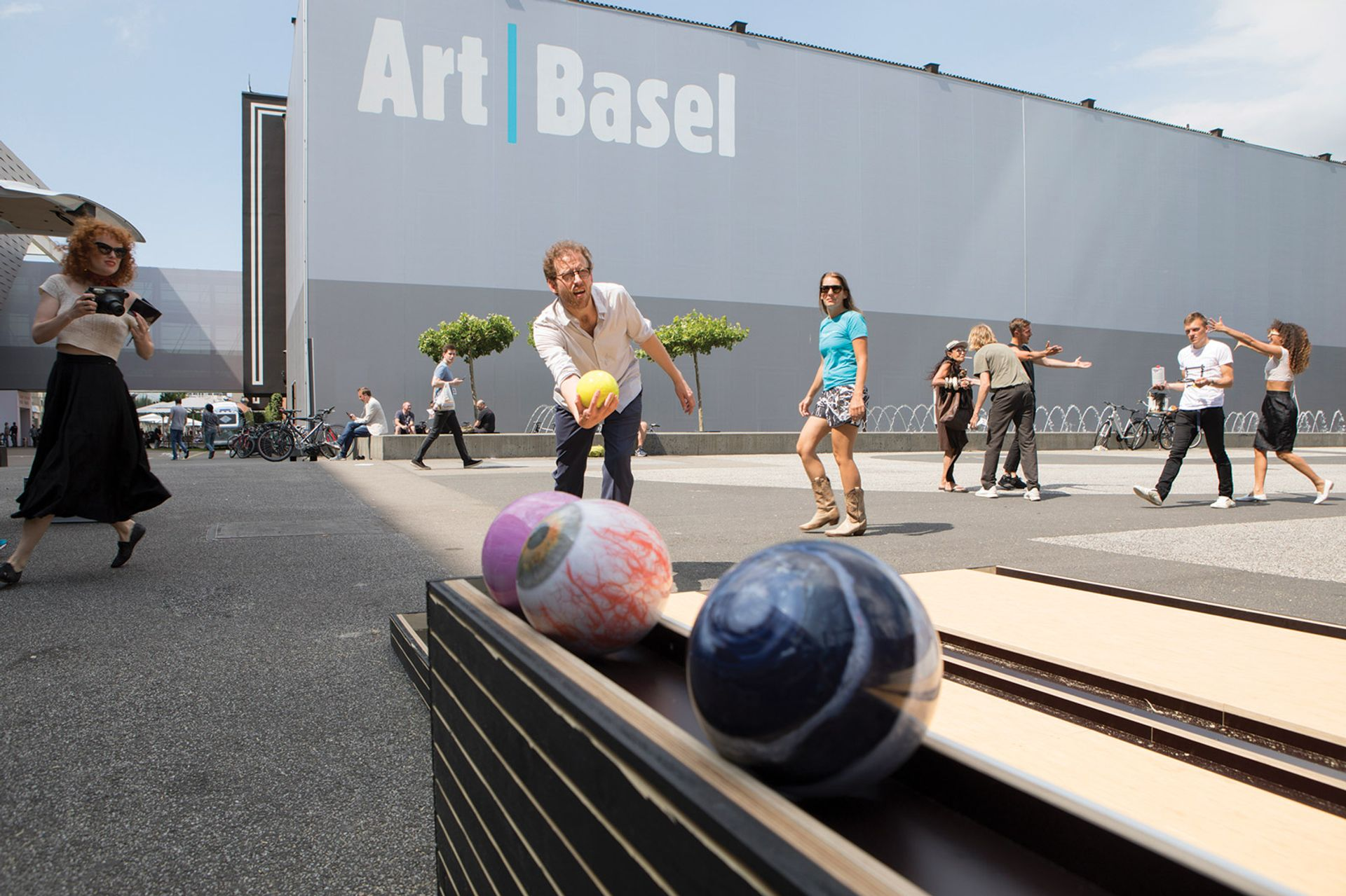 Art Basel has offered galleries—such as  König Galerie , owned by Johann König(seen bowling in the Messeplatz in 2017)—a 10% discount on stand prices to reflect difficult business conditions and higher shipping costs Courtesy of Art Basel